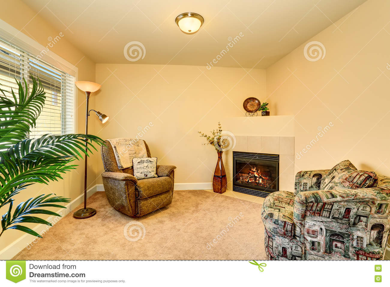 Cozy Family Room Interior With Two Armchairs And Fireplace Stock ...