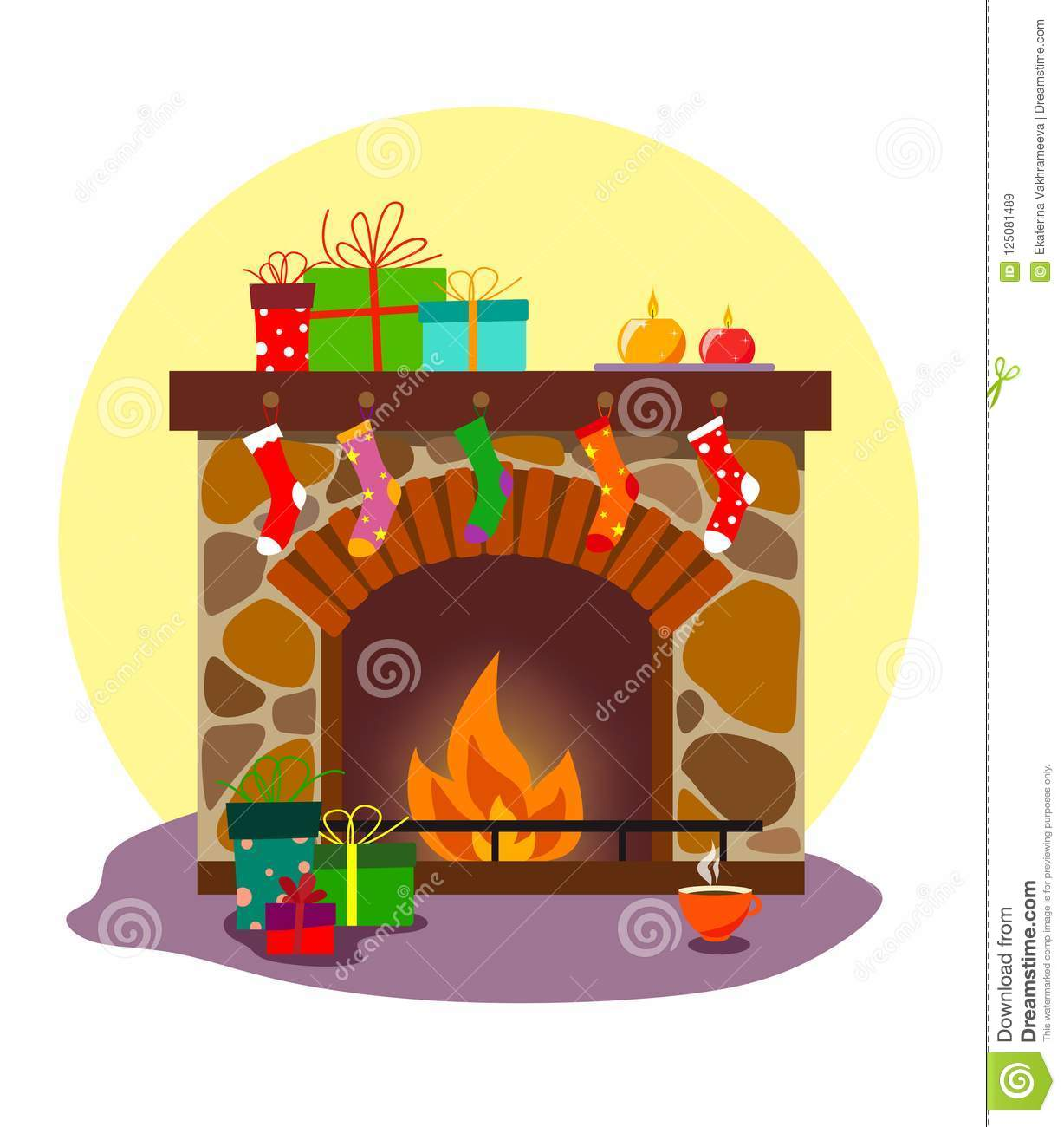 A Cozy Fireplace With Socks And Gifts For Christmas Or The New Year ...