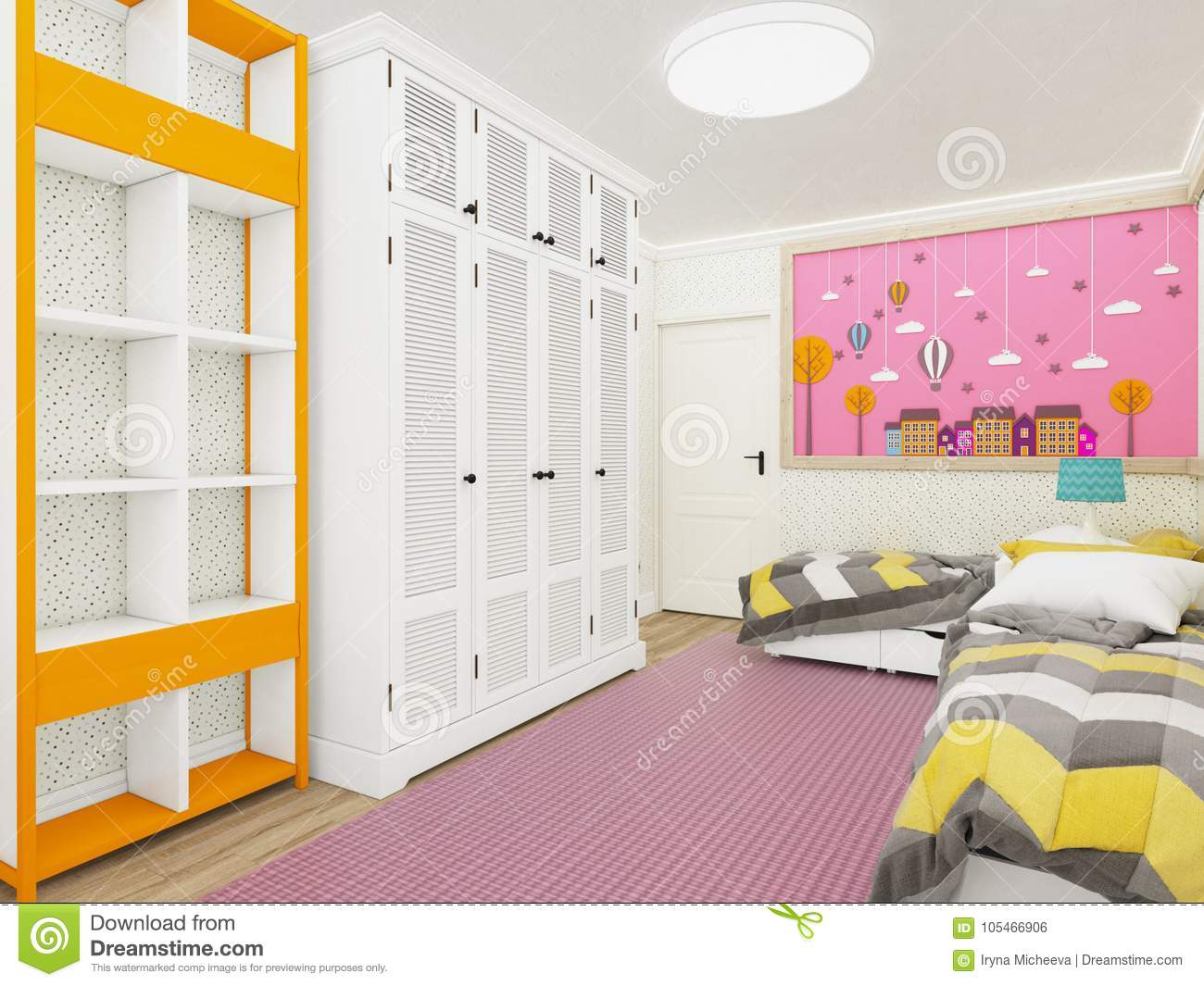 Cozy girl`s bedroom in pink with wardrobe and cute decoration on the wall. 3d rendering