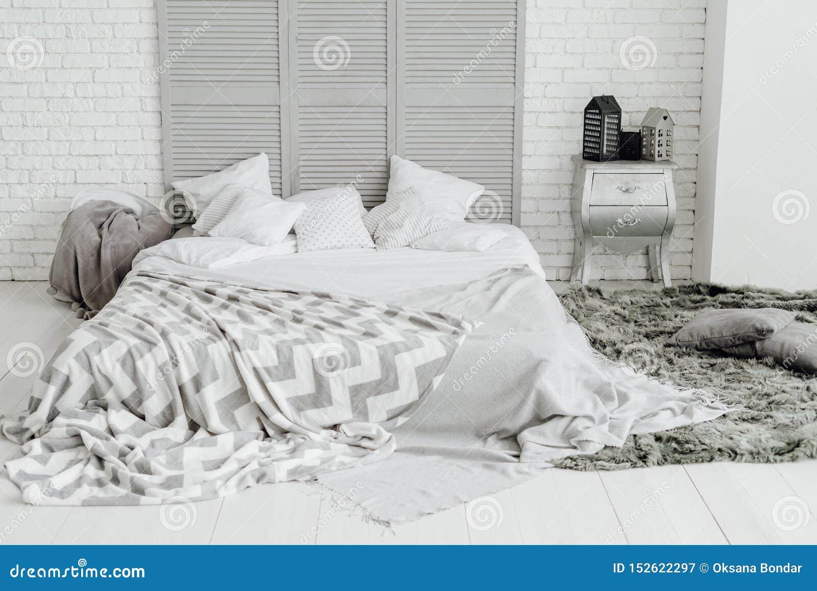 Cozy Grey Bedroom Interior Spacious Room Design Stock Image Image Of Messy Luxury 152622297