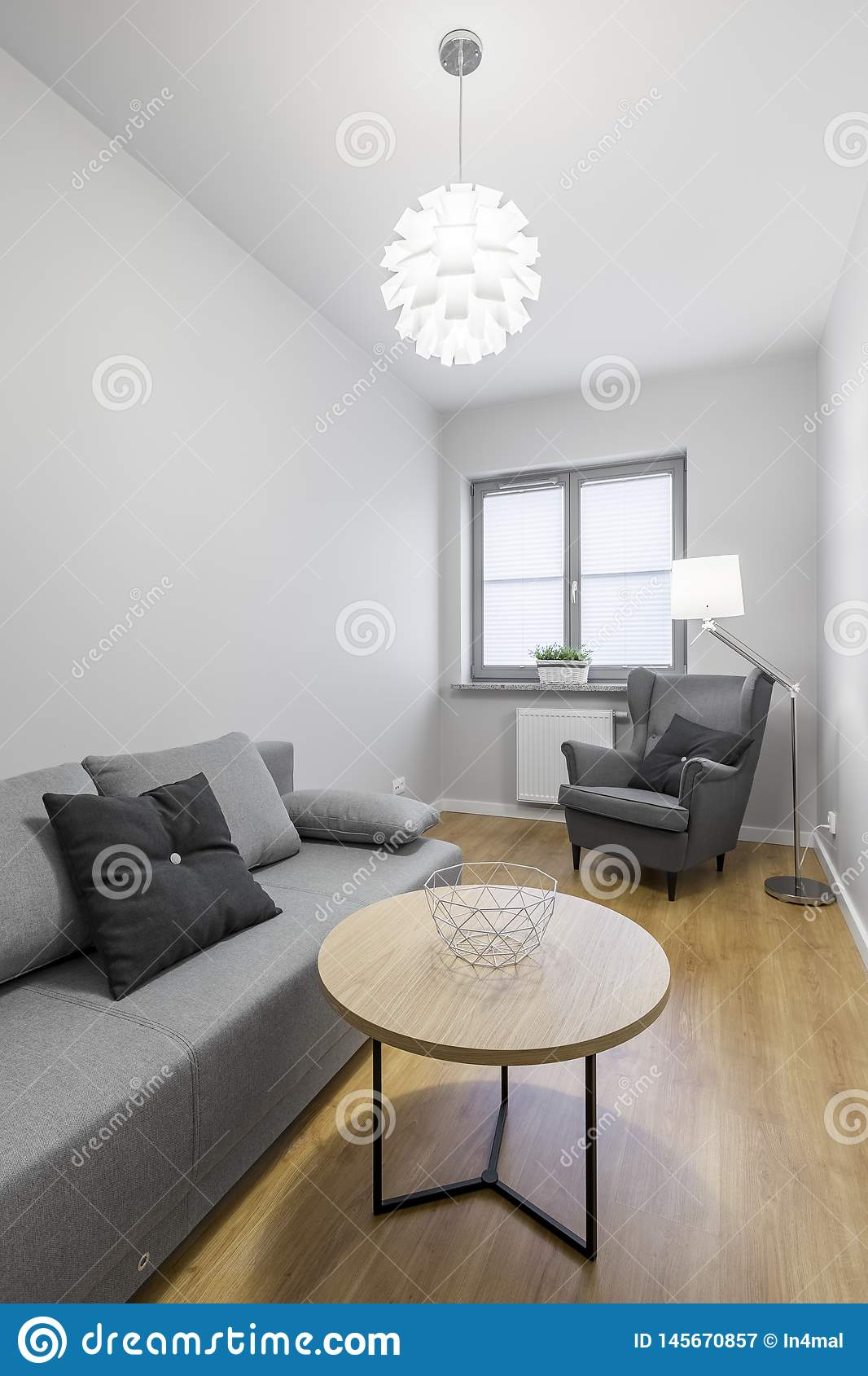 Cozy Grey Room With Sofa Stock Image Image Of Architecture 145670857