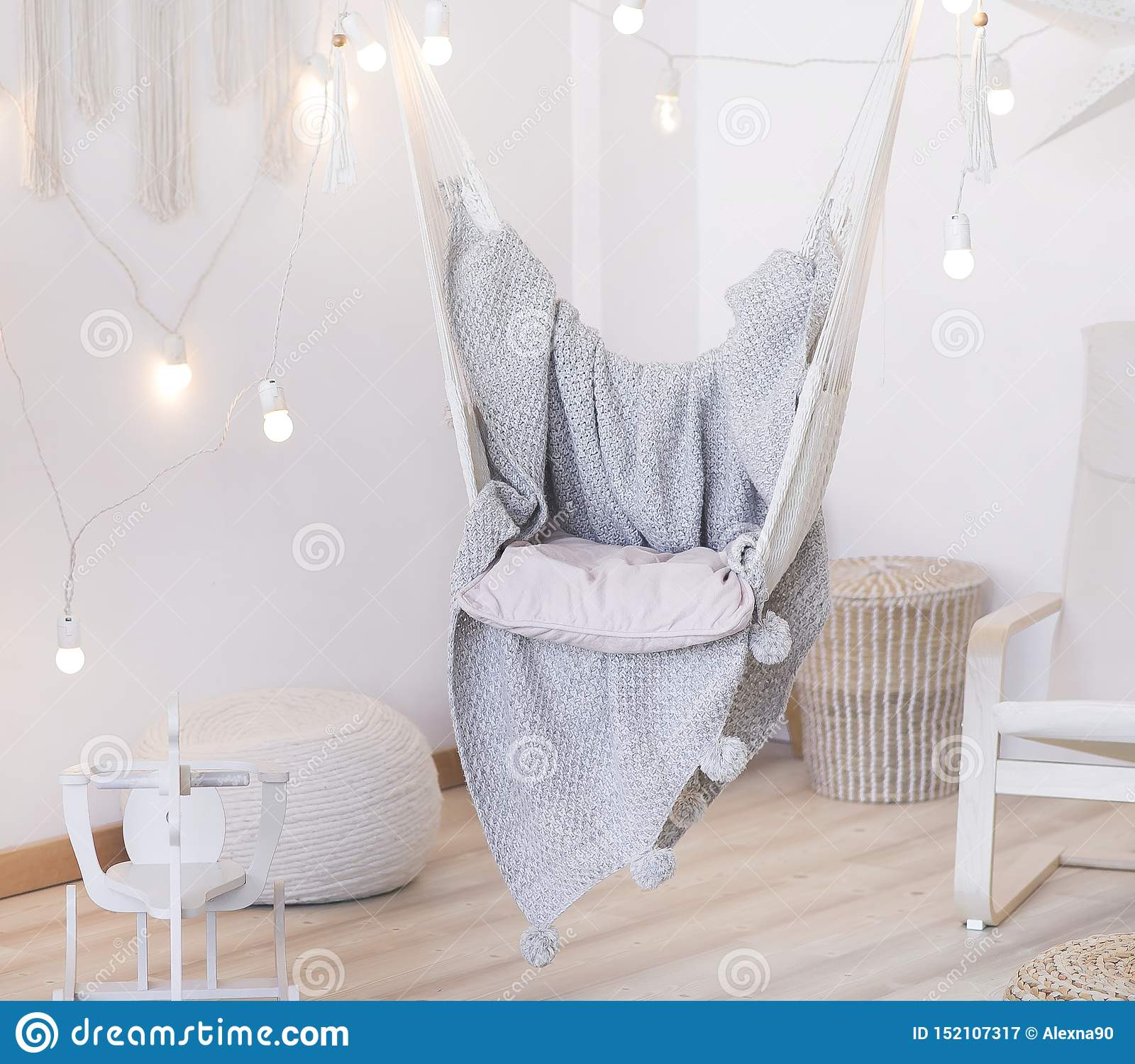 Cozy Hammock Chair In A Bright Room Pastel Colors Gray