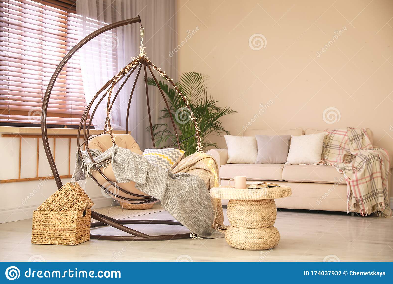 Cozy Hanging Chair With Fairy Lights In Modern Living Room Interior Design Stock Photo Image Of Hanging Flat 174037932