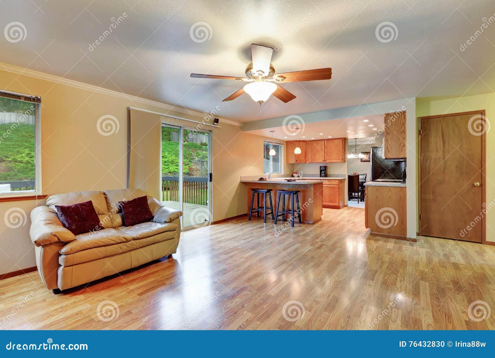 Cozy Hardwood Living Room With Open Floor Plan Stock Photo Image 76432830