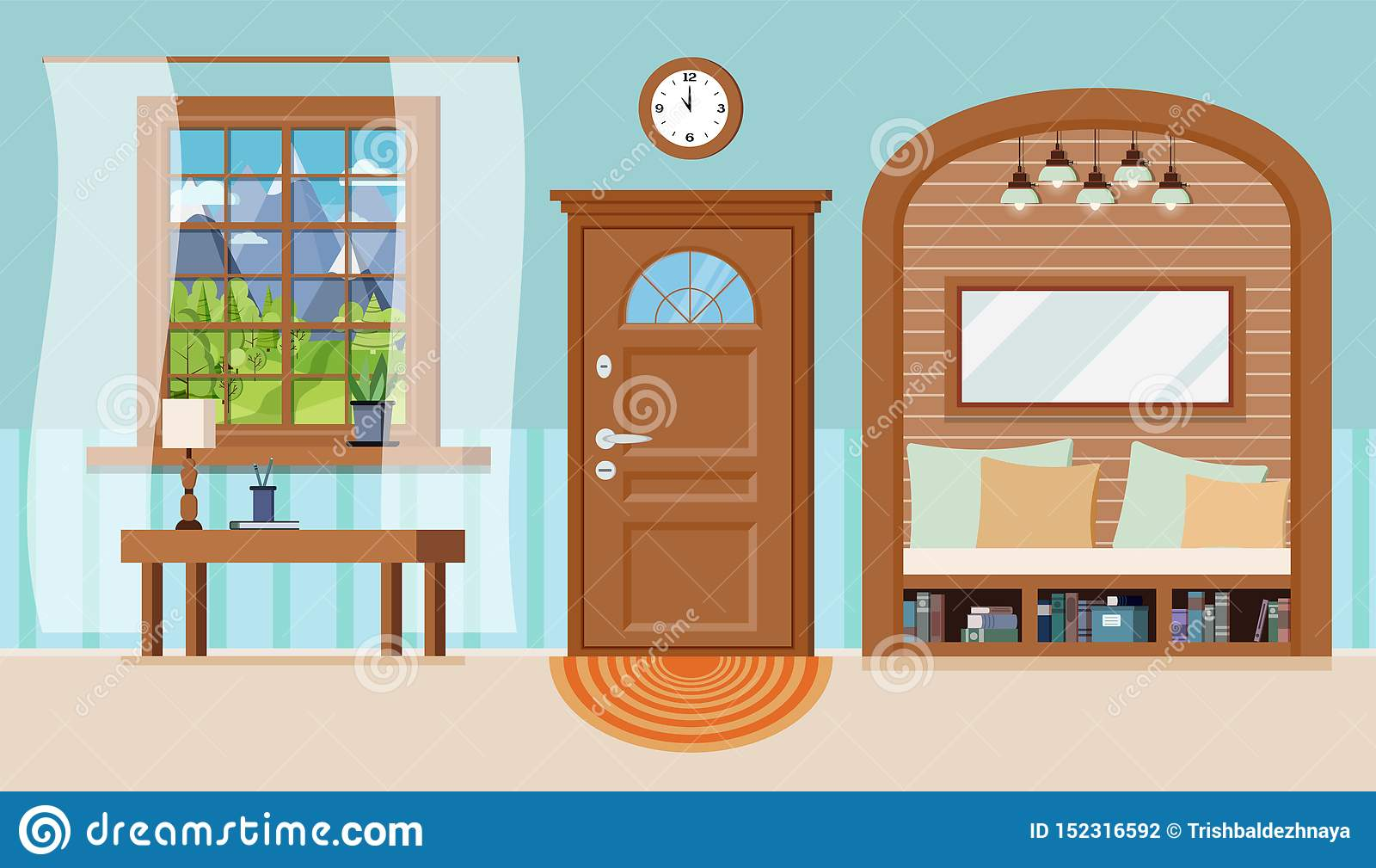 Groovy Cozy Home Entrance Hall Interior Background With Furniture Download Free Architecture Designs Fluibritishbridgeorg