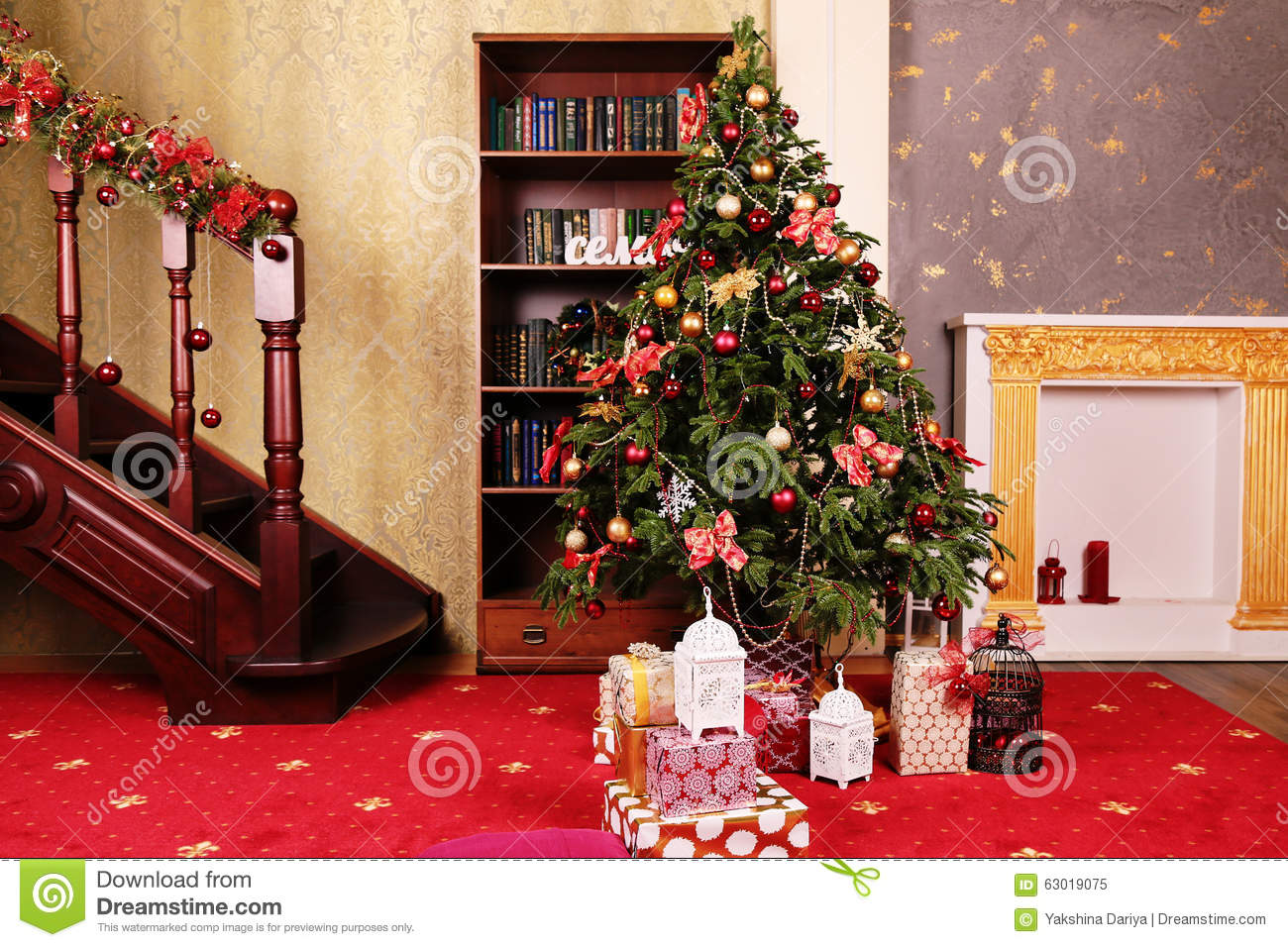 Cozy home interior with christmas tree and new year for Interior decoration for new year