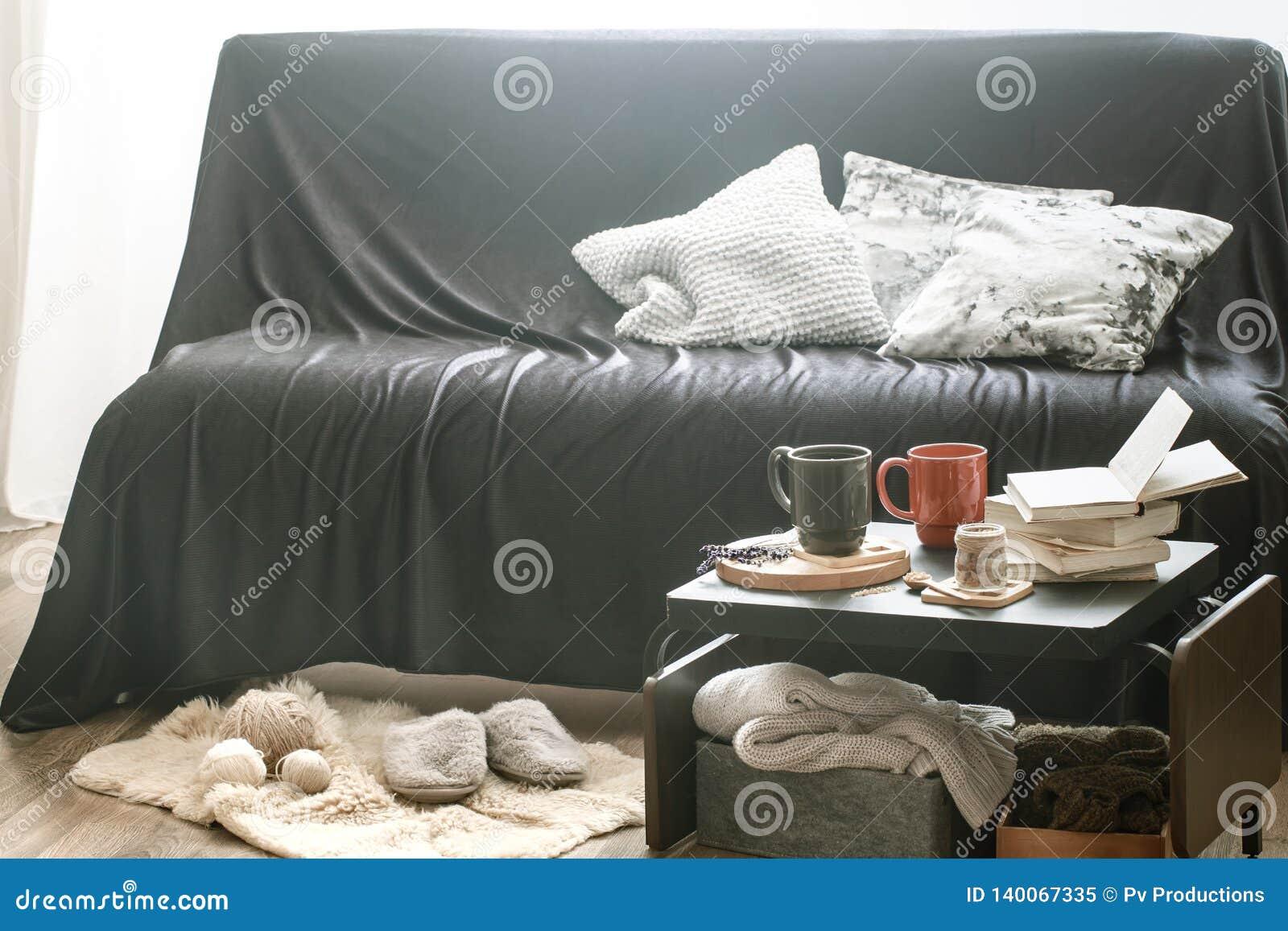 Cozy Home Interior Living Room With Black Sofa Stock Image Image Of Cushion Interior 140067335