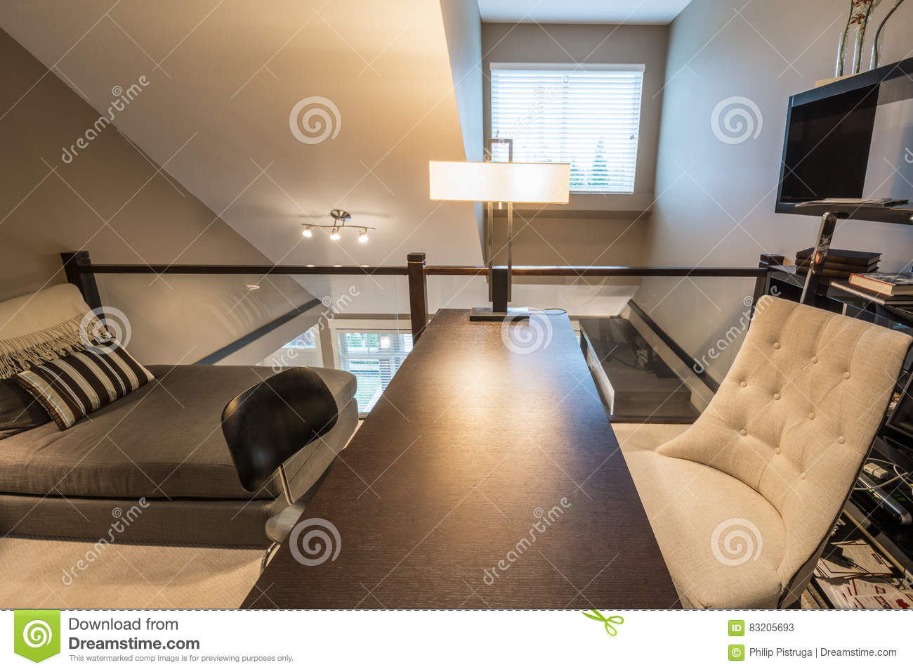 Cozy Home Office Interior Design Stock Image - Image of ...