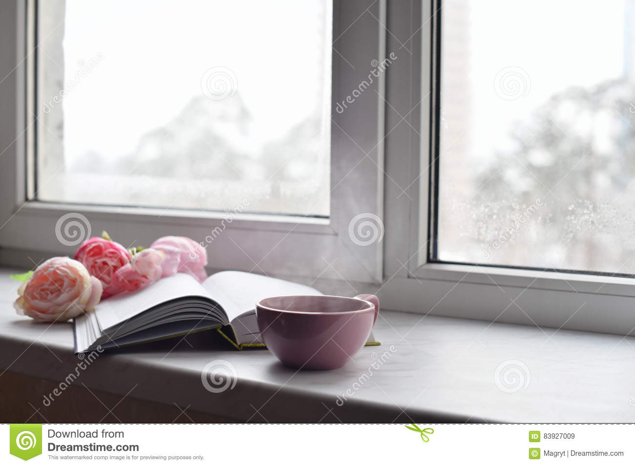 Cozy home still life: cup of hot coffee, spring flowers and opened book with warm plaid on windowsill against snow