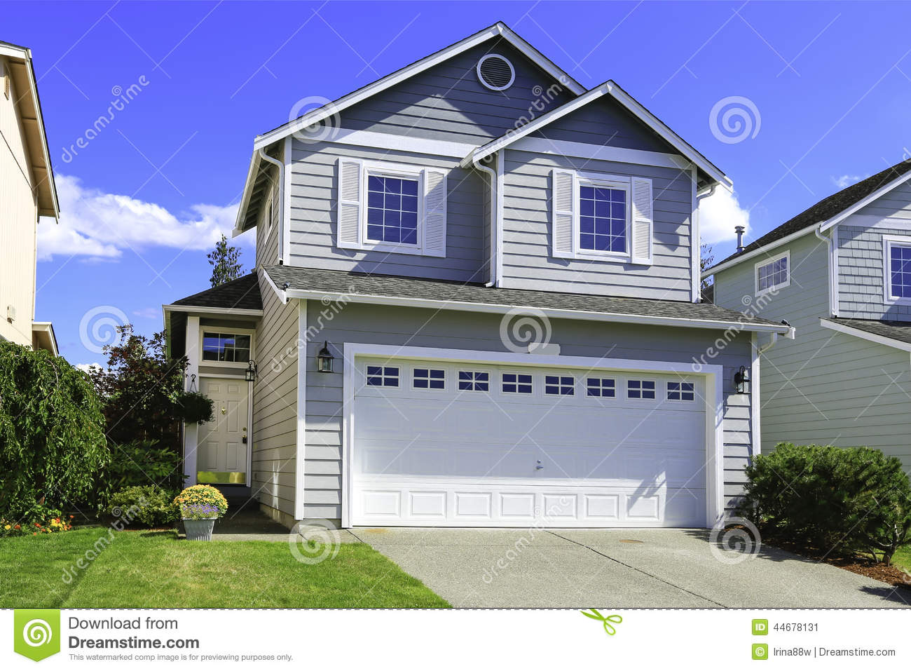 Cozy house exterior with garage stock photo image 44678131 for Exterior 2 story homes