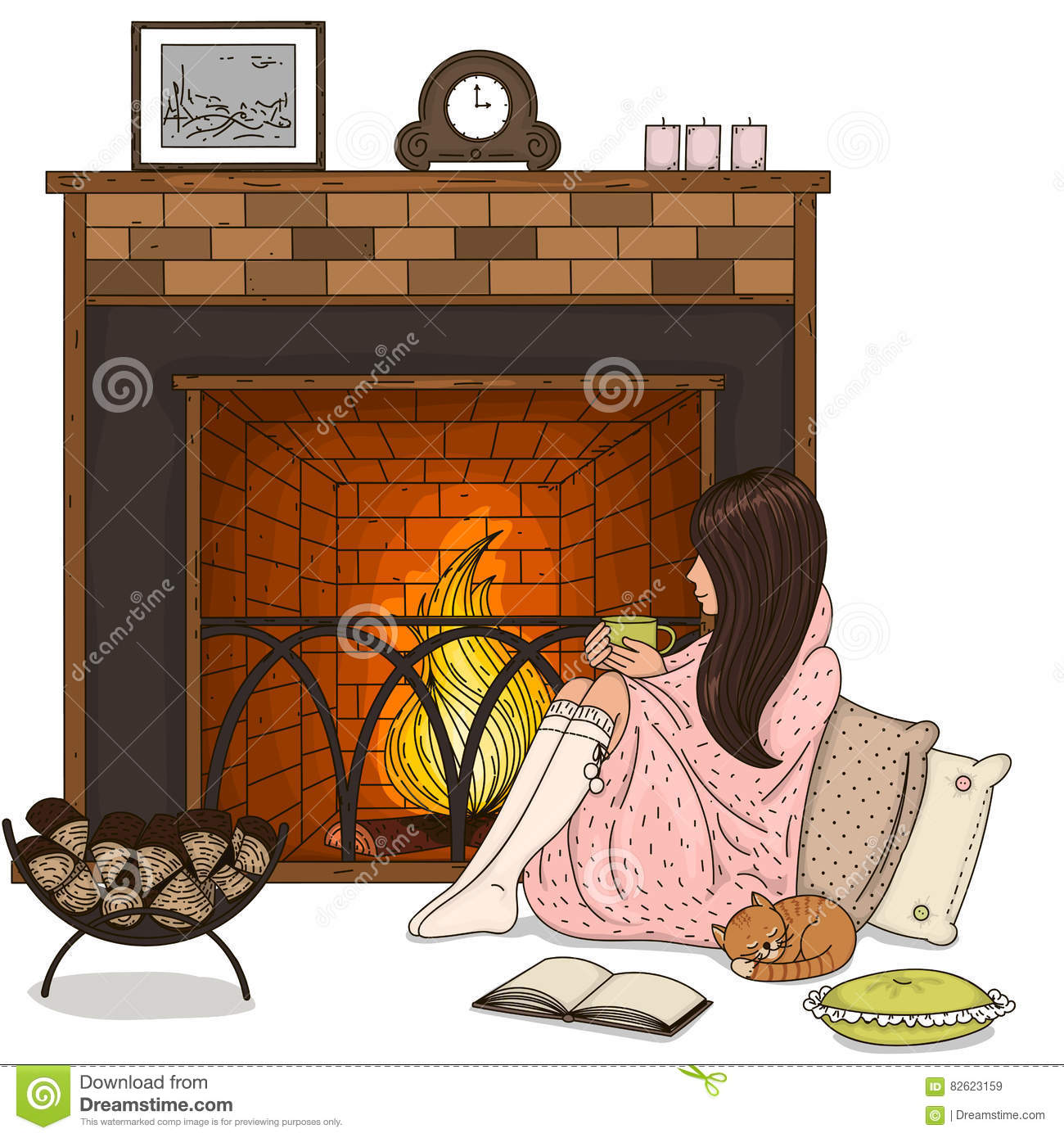 brick fireplace clipart. cat brick fireplace clipart