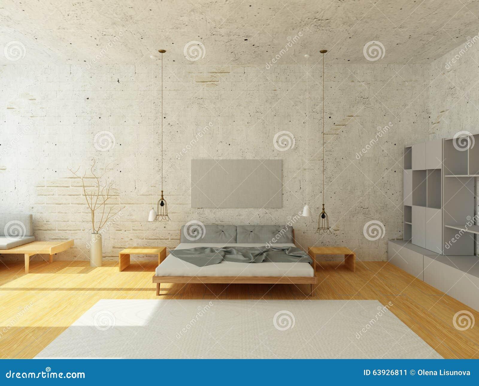 Cozy Interior Of Bedroom In Scandinavian Style. Cozy Bedroom With Stucco  Brick Walls ...