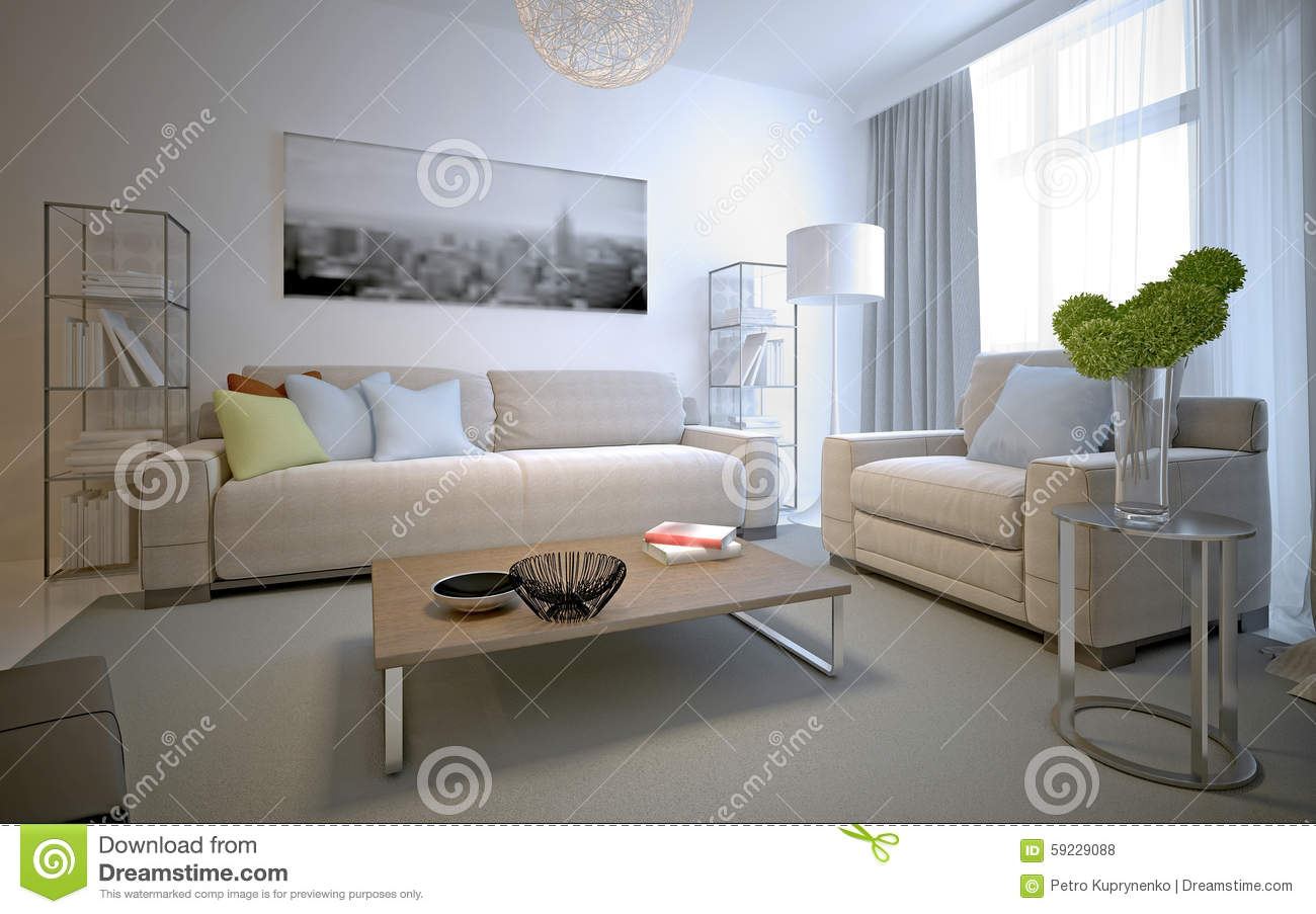 Cozy Interior Of Contemporary Lounge Stock Illustration