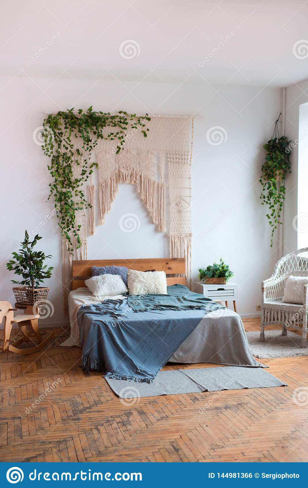 Cozy Interior Design Of Modern Studio Apartment In Scandinavian Style A Spacious Huge Room In Light Colors With Wooden Stock Photo Image Of Home Lamp 144981366