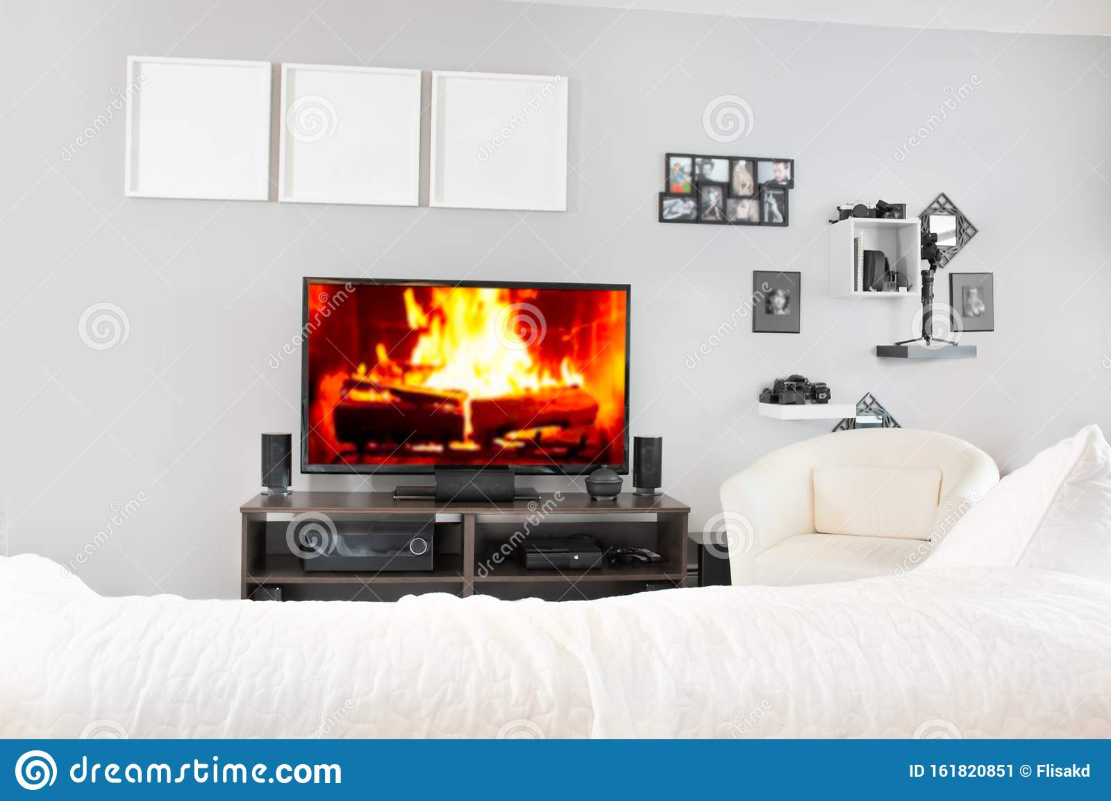 Cozy Interior Of Living Room With Tv Fireplace On Television Screen Stock Image Image Of Plasma Beautiful 161820851
