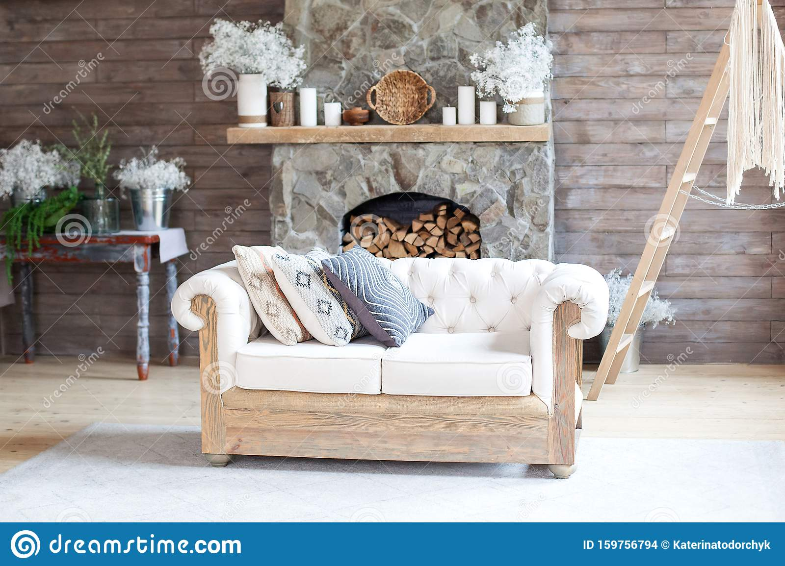 Cozy Interior Living Room White Sofa And Fireplace Rustic Home Design For Warm Indoor Space Alpine Vacation Modern Cottage Livin Stock Photo Image Of Christmas Indoor 159756794