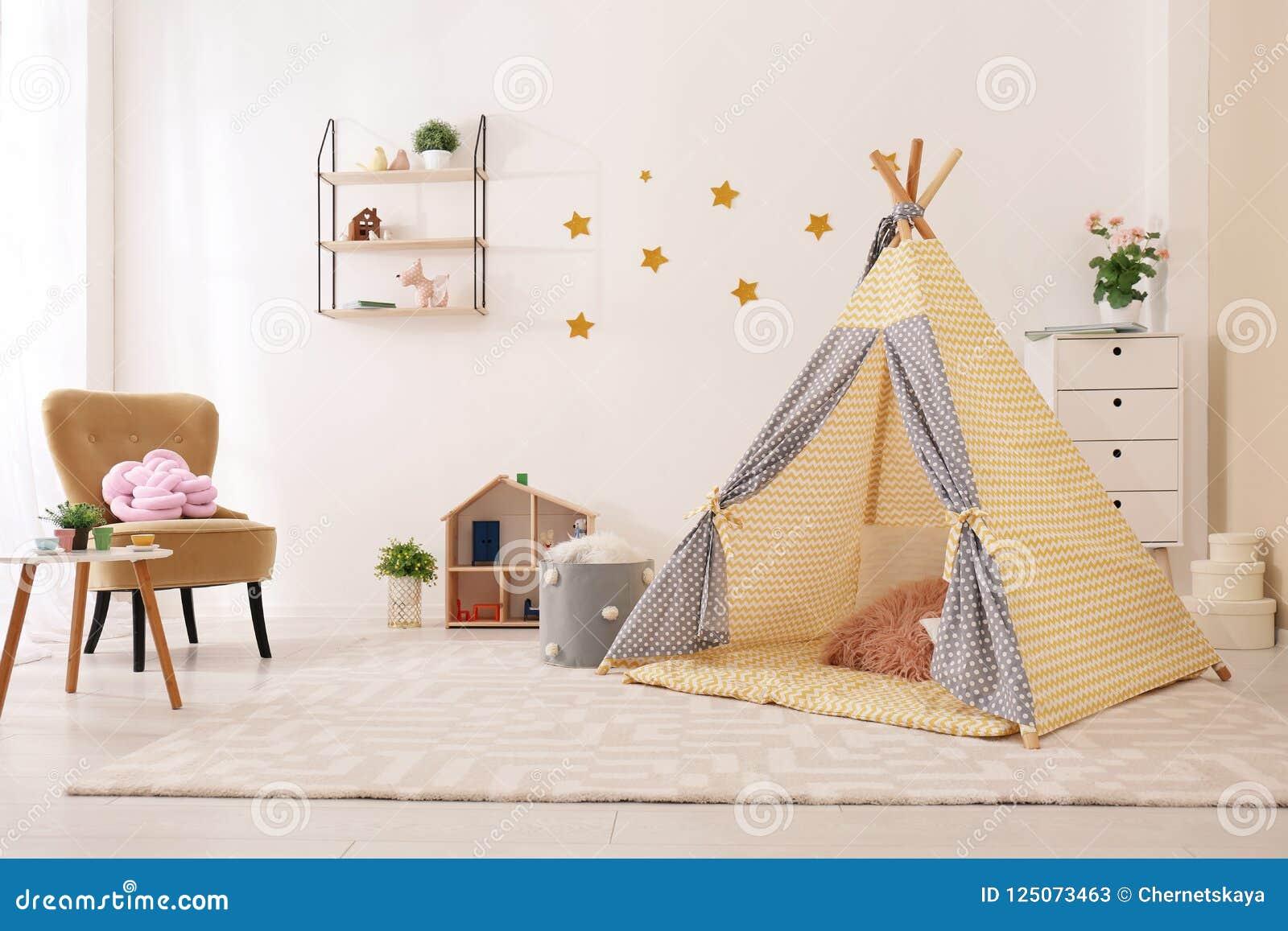 Cozy kids room interior with play tent & Cozy Kids Room Interior With Play Tent Stock Image - Image of cozy ...
