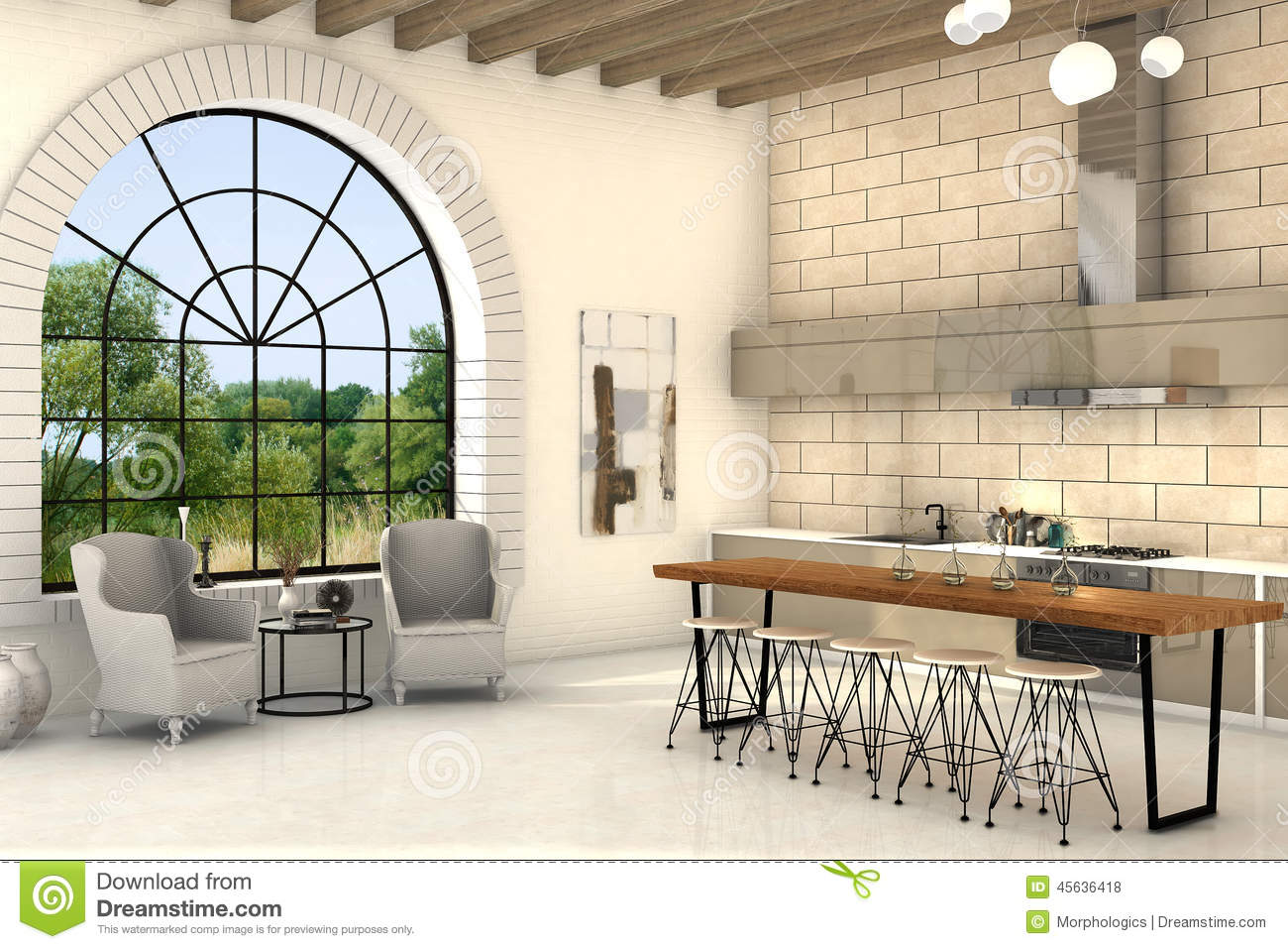 Cozy Kitchen With Big Round Window And Big Table Stock