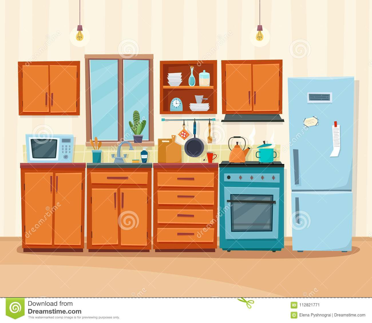 Cozy Kitchen Interior With Furniture And Stove Stock Vector