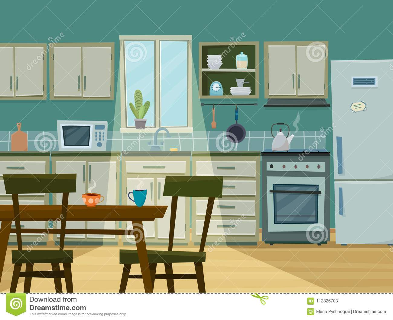 Cozy Kitchen Interior With Furniture And Stove Stock Vector ...