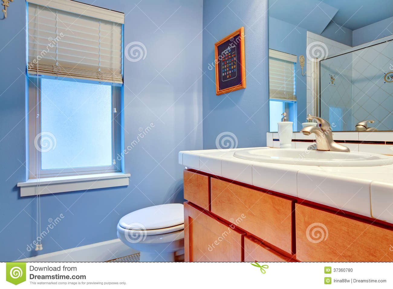 Cozy light blue bathroom