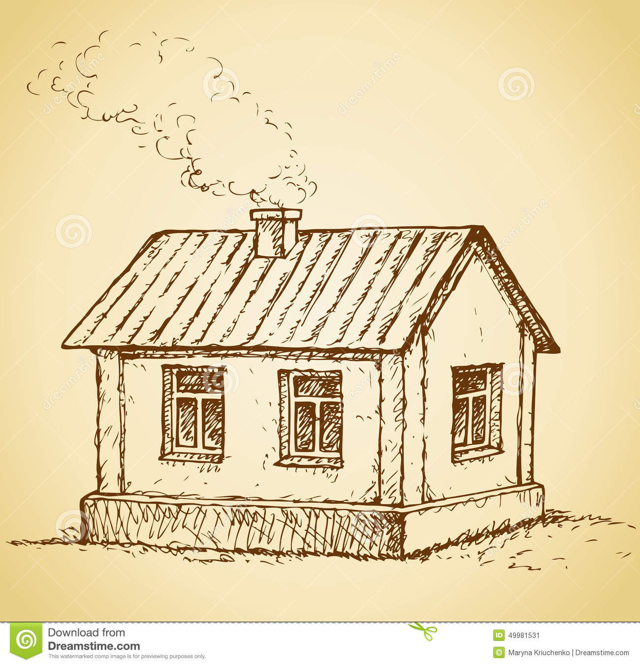 Cozy little house vector sketch stock vector image for How to draw a cute house
