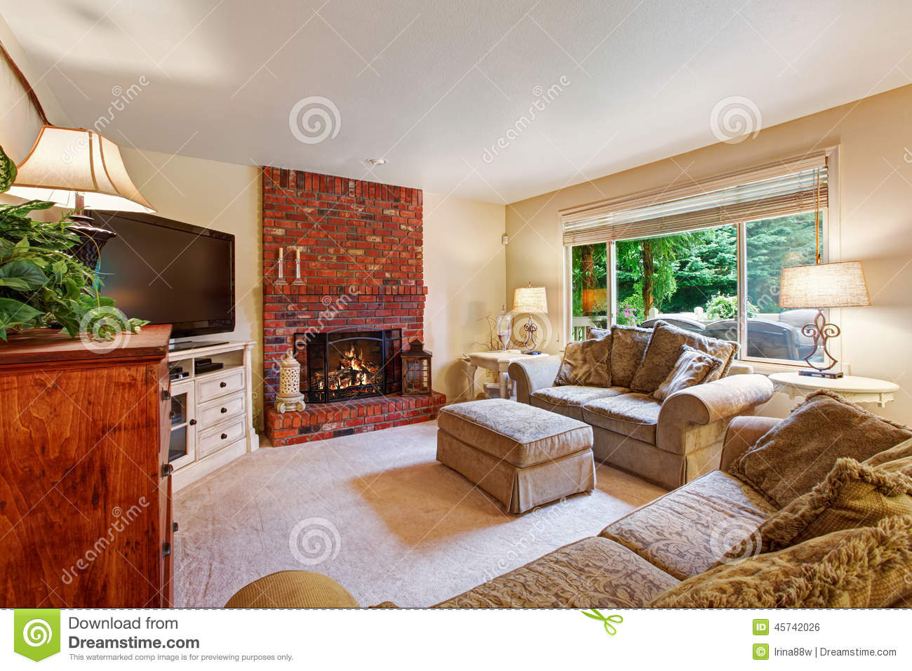 Cozy Living Room With Brick Fireplace Stock Photo Image 45742026