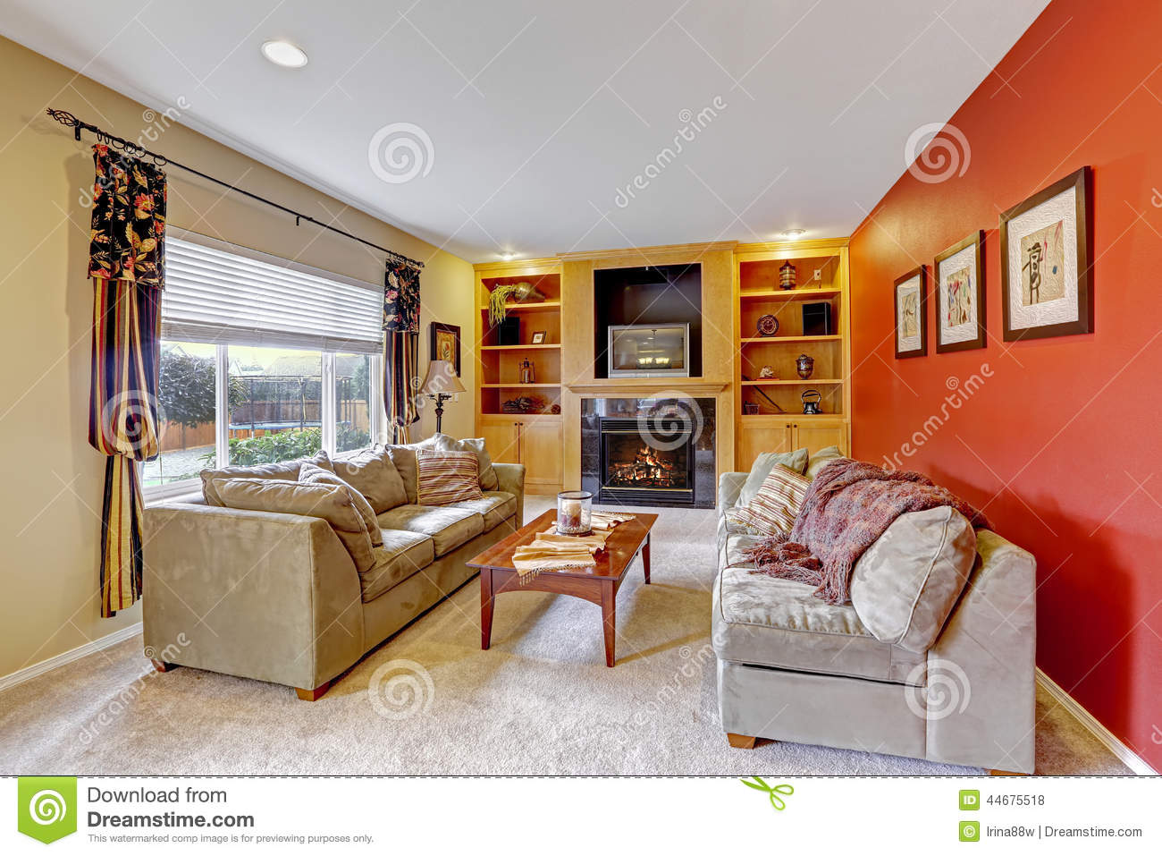 Cozy Living Room With Contrast Color Walls Stock Photo Image 44675518