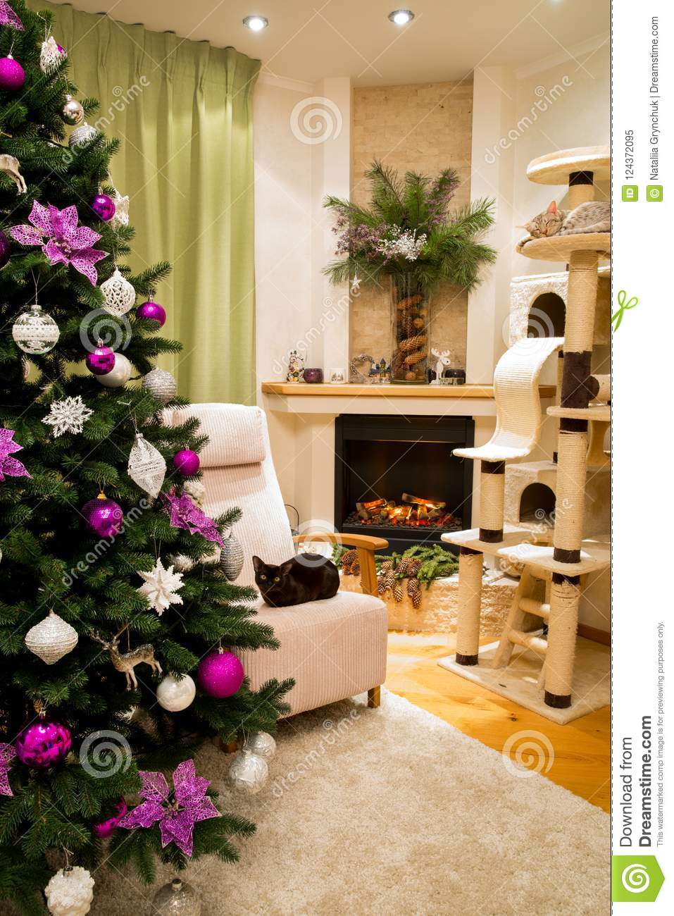 A Cozy Living Room Decorated To Celebrate Christmas And New