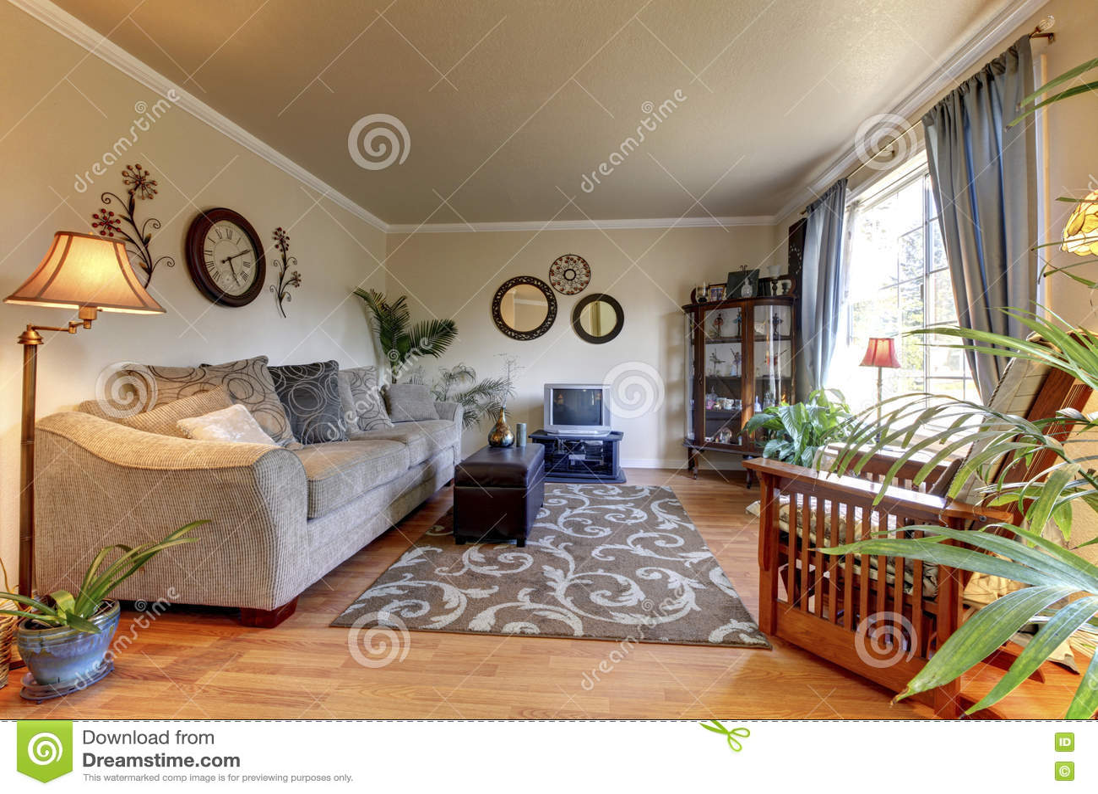 cozy living room design with nice decor large beige sofa stock photo image of decor. Black Bedroom Furniture Sets. Home Design Ideas