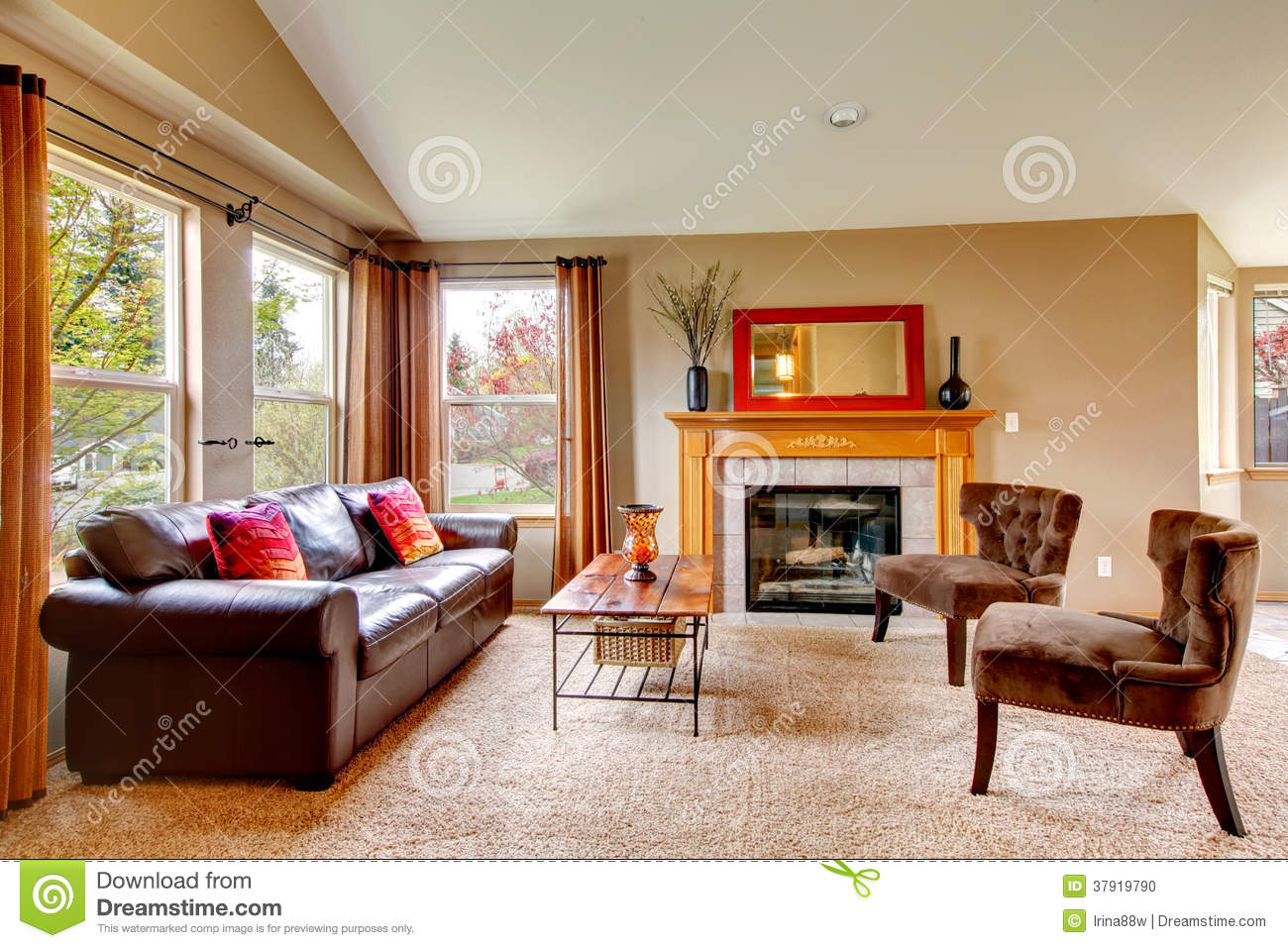 Cozy Living Room With Fireplace Stock Photo Image 37919790