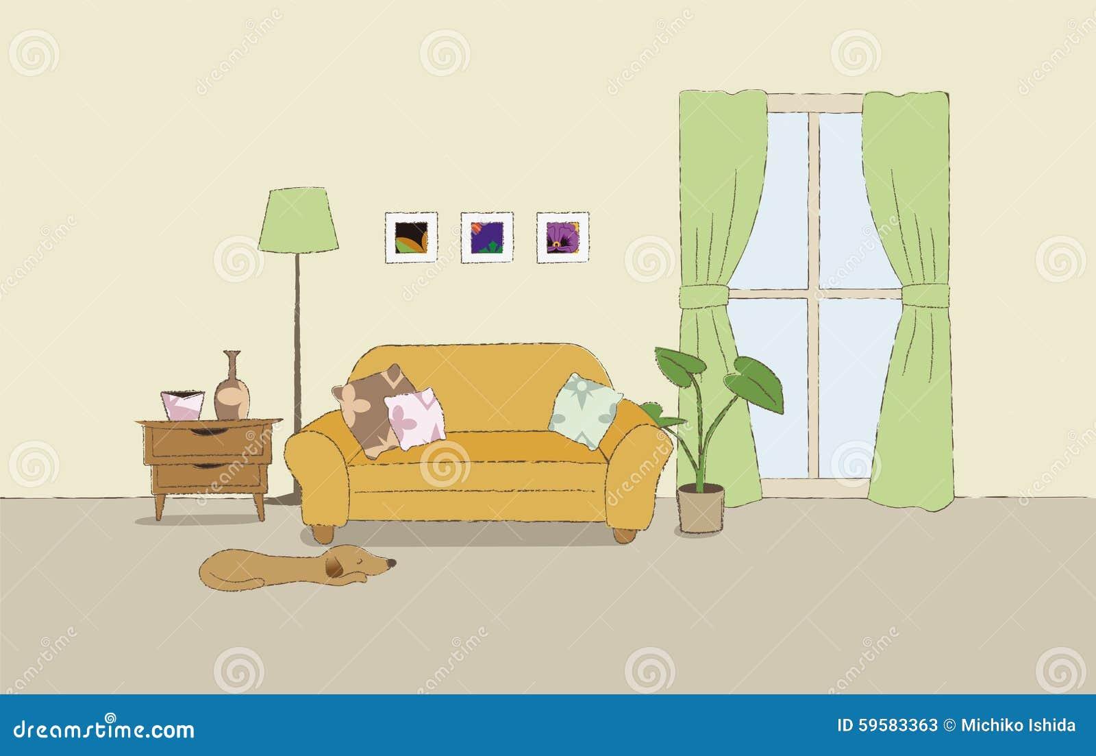 Cozy Living Room Illustration Stock Vector - Illustration of lanp ...
