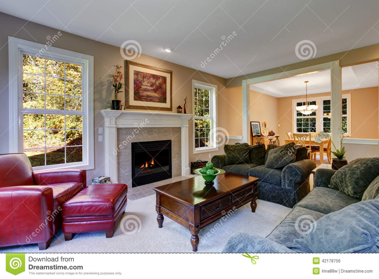 Cozy Living Room Interior With Fireplace Stock Photo Image Of Fireplace Decor 42178756