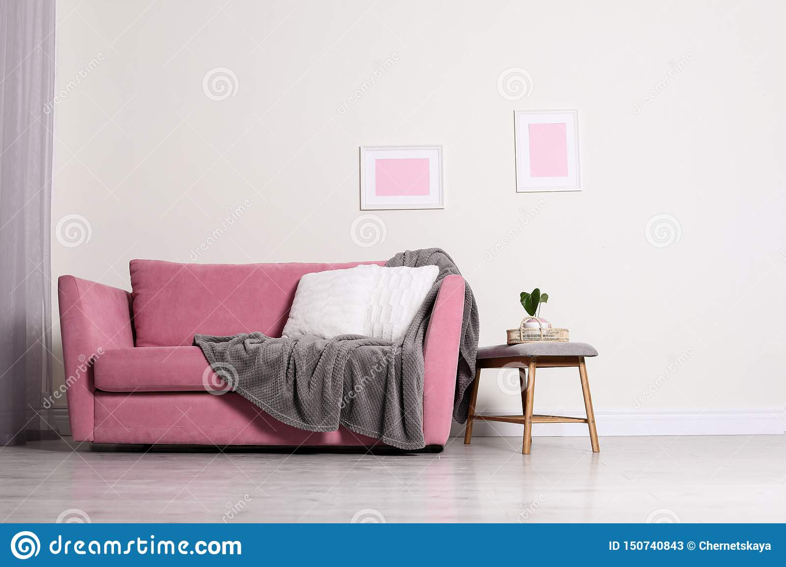Cozy Living Room Interior With Sofa Pillow And Plaid Near Light Wall Stock Image Image Of Decorative Cushion 150740843