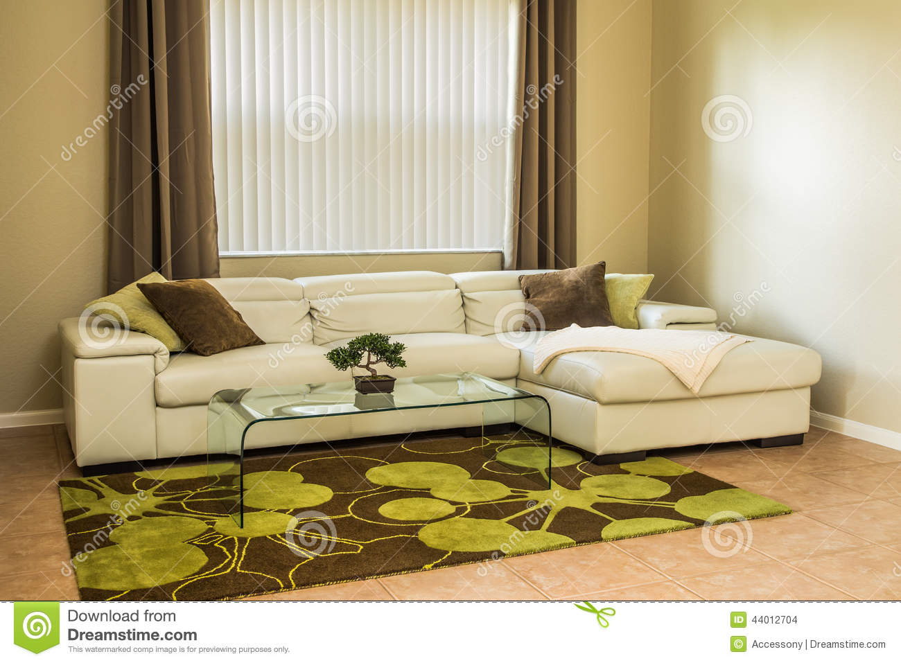 Cozy Living Room In Olive Green Colors Stock Photo