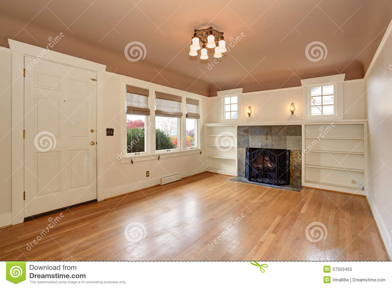 Cozy Living Room With Rose Interior Ceiling Paint.