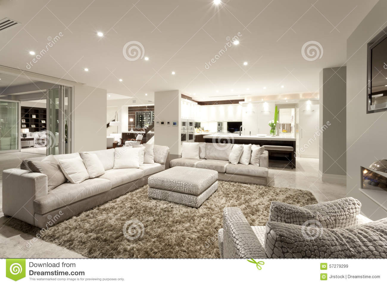 Cozy Living Room With Spacious Sofas Stock Image Image