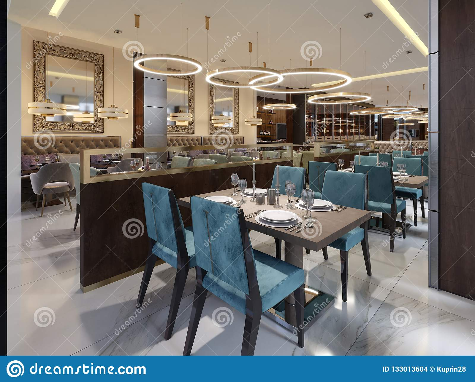Cozy Luxury Interior Of Restaurant Comfortable Modern Dining Place Contemporary Design Background Stock Illustration Illustration Of Architecture Interior 133013604