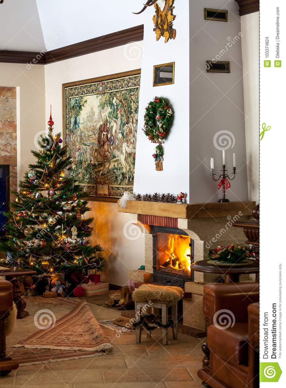 Cozy House With Fireplace For New Year Editorial Stock Image Image Of Candle Garland 103374824