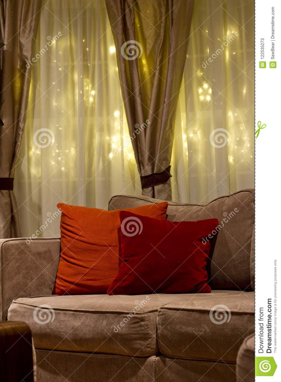 Cozy Nighttime Living Room Couch Stock Image Image Of Furnishing Comfort 122535273