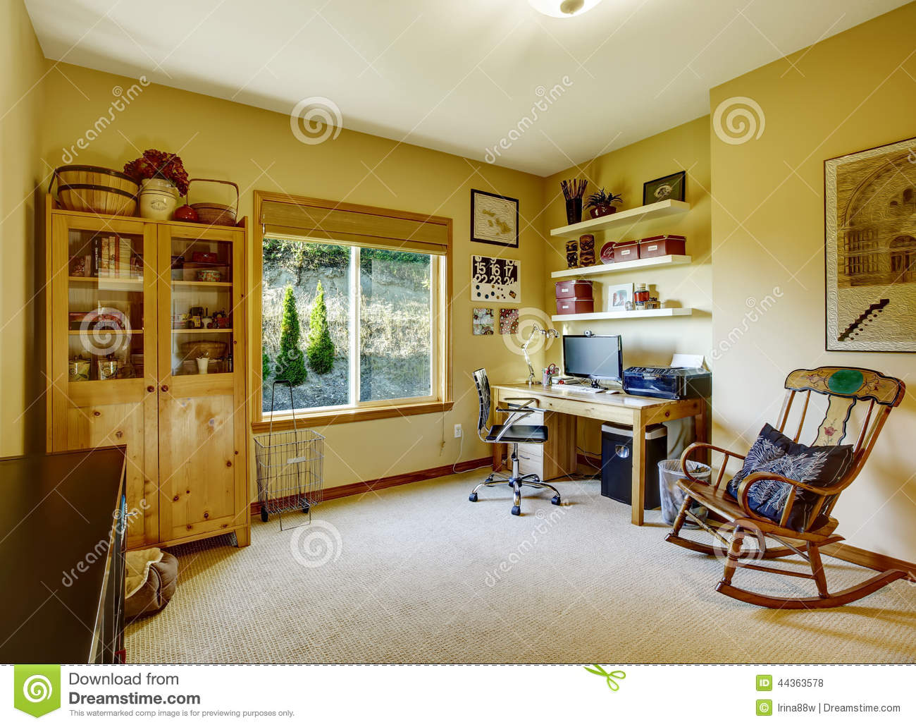 Cozy Office Room With Rocking Chair Stock Photo Image
