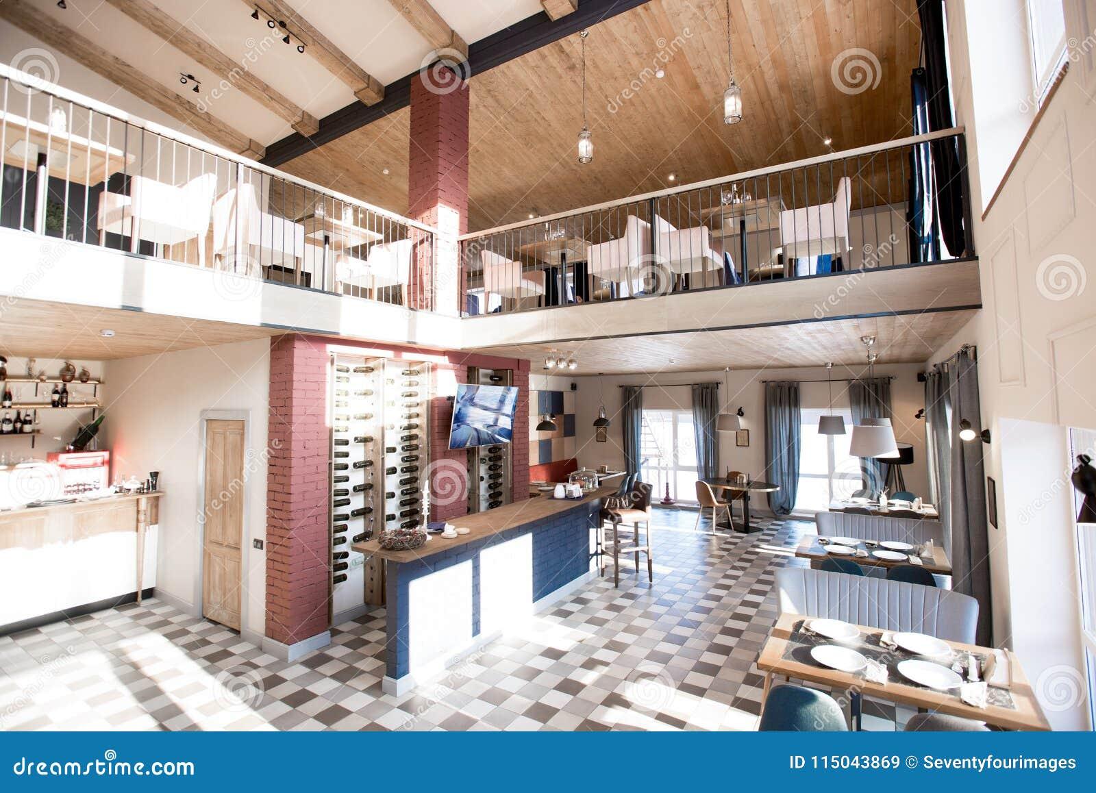 Cozy Restaurant With Fashionable Interior Design Stock Image Image Of Sofa Leisure 115043869