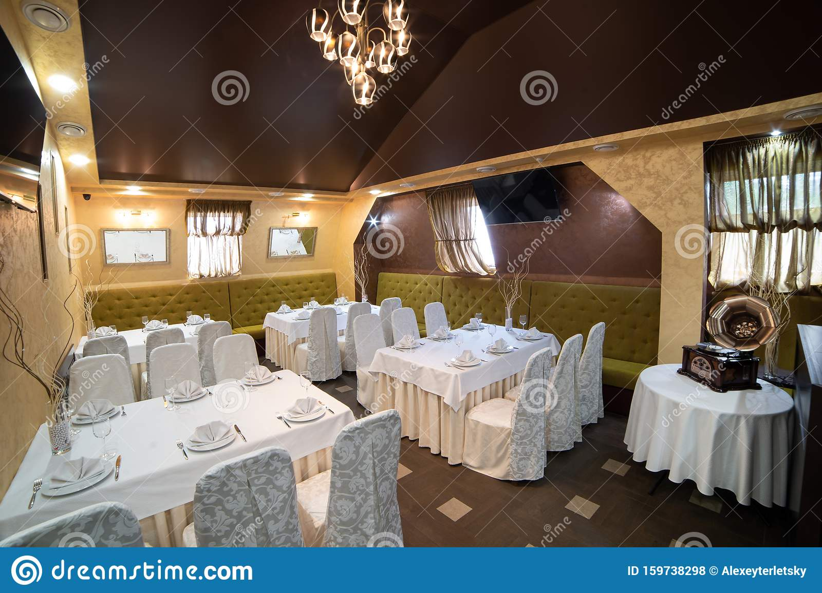 Cozy Restaurant Interior Cafe Lounge Table Party Stock Photo Image Of Food Table 159738298
