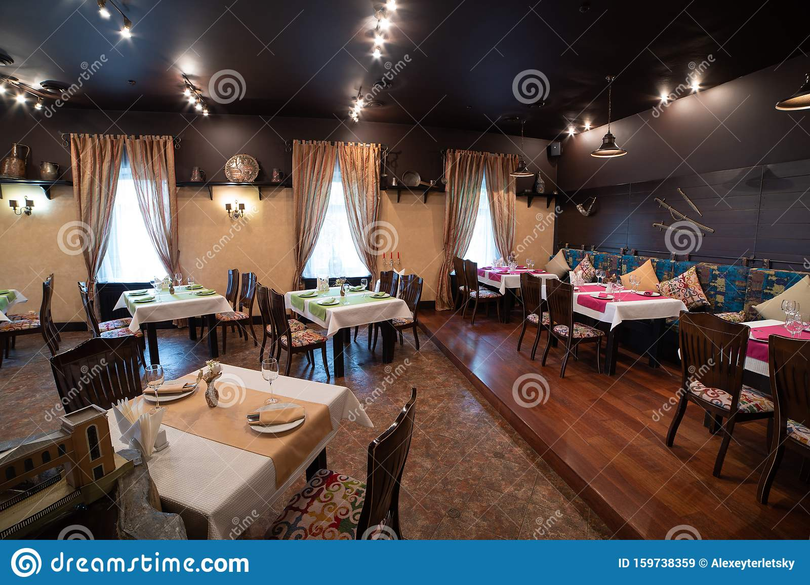 Cozy Restaurant Interior Cafe Lounge Table Party Stock Image Image Of Chicken Dish 159738359