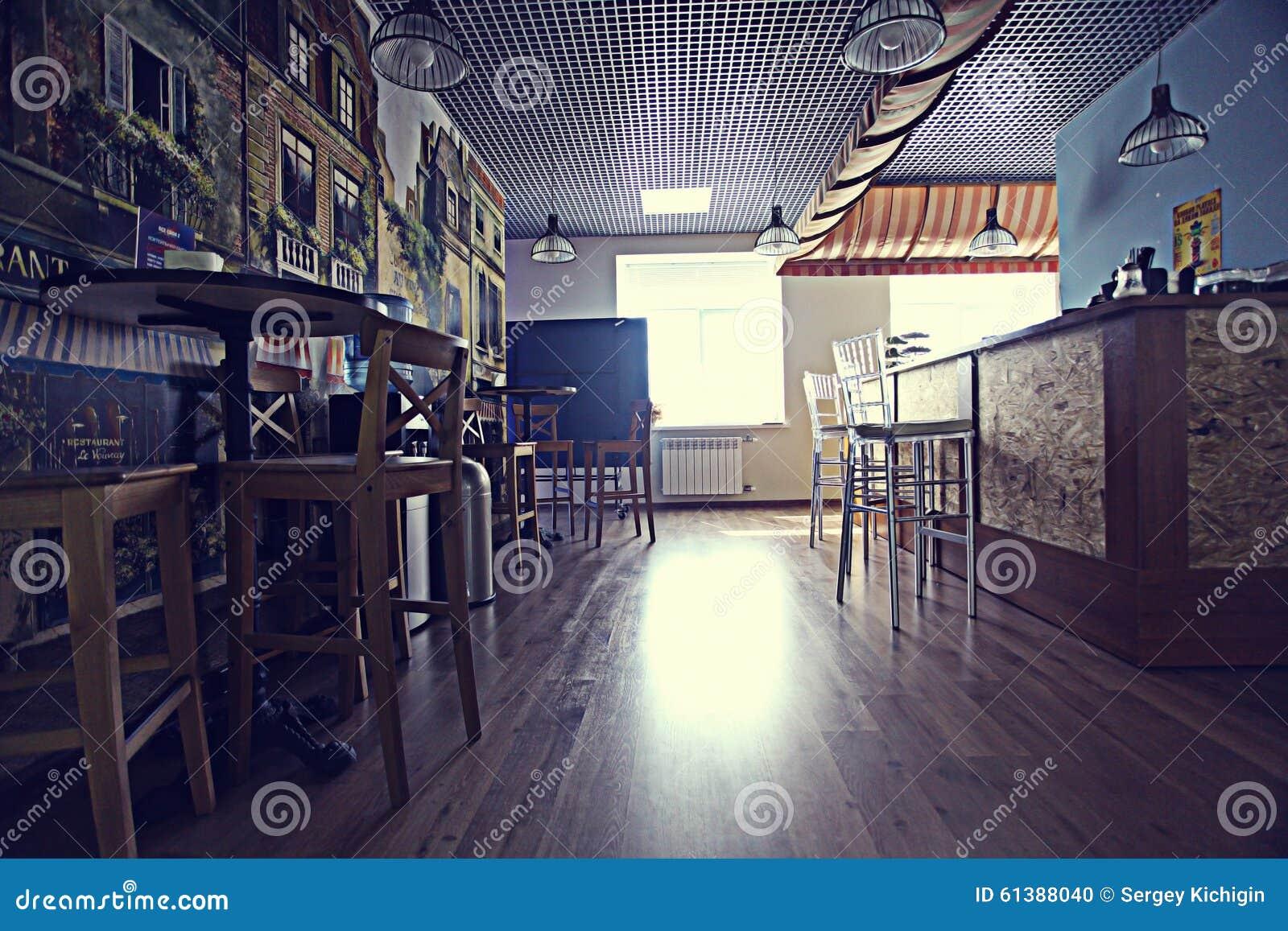 Cozy restaurant interior stock photo image