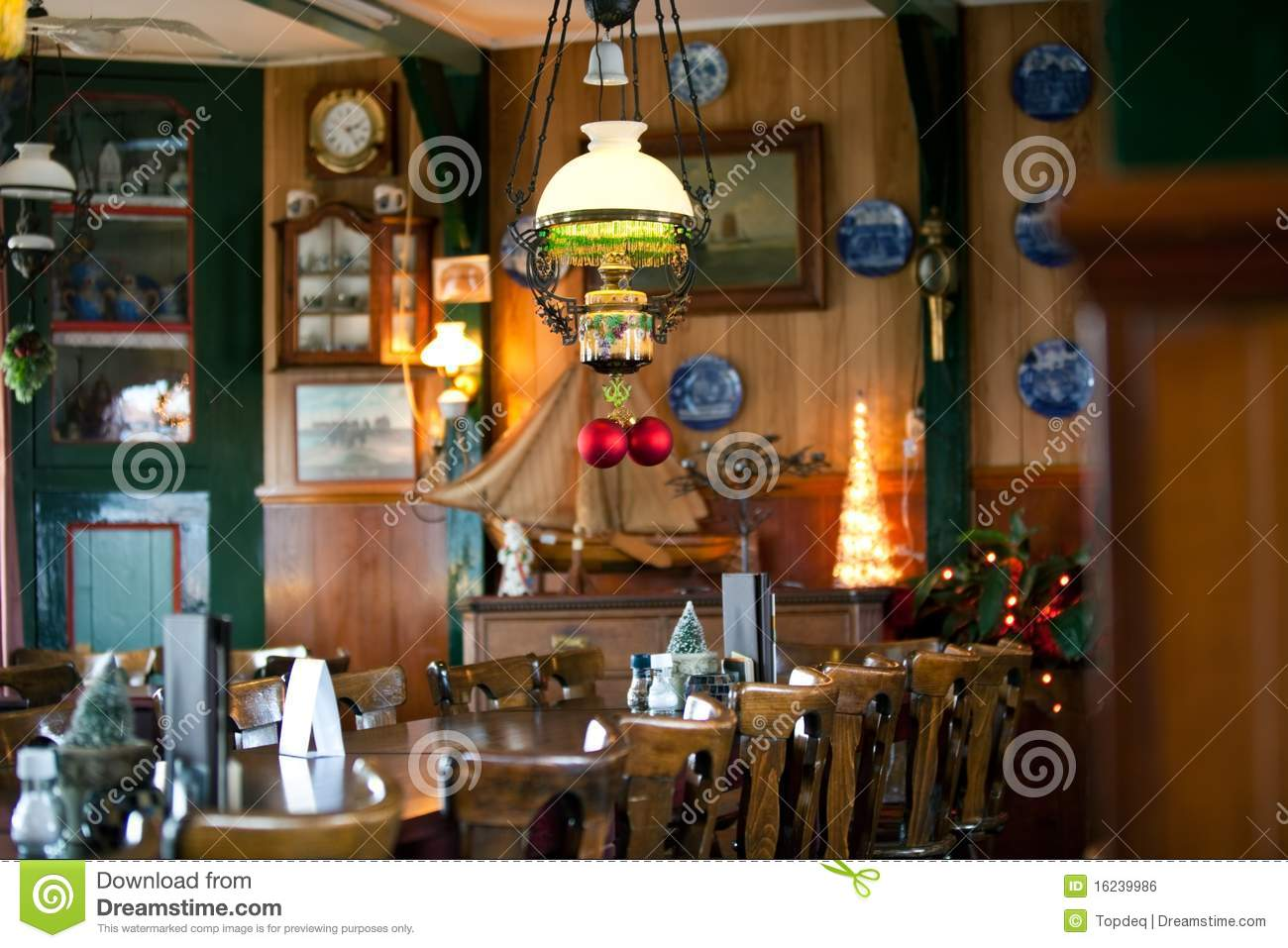 Cozy restaurant new year decoration royalty free stock