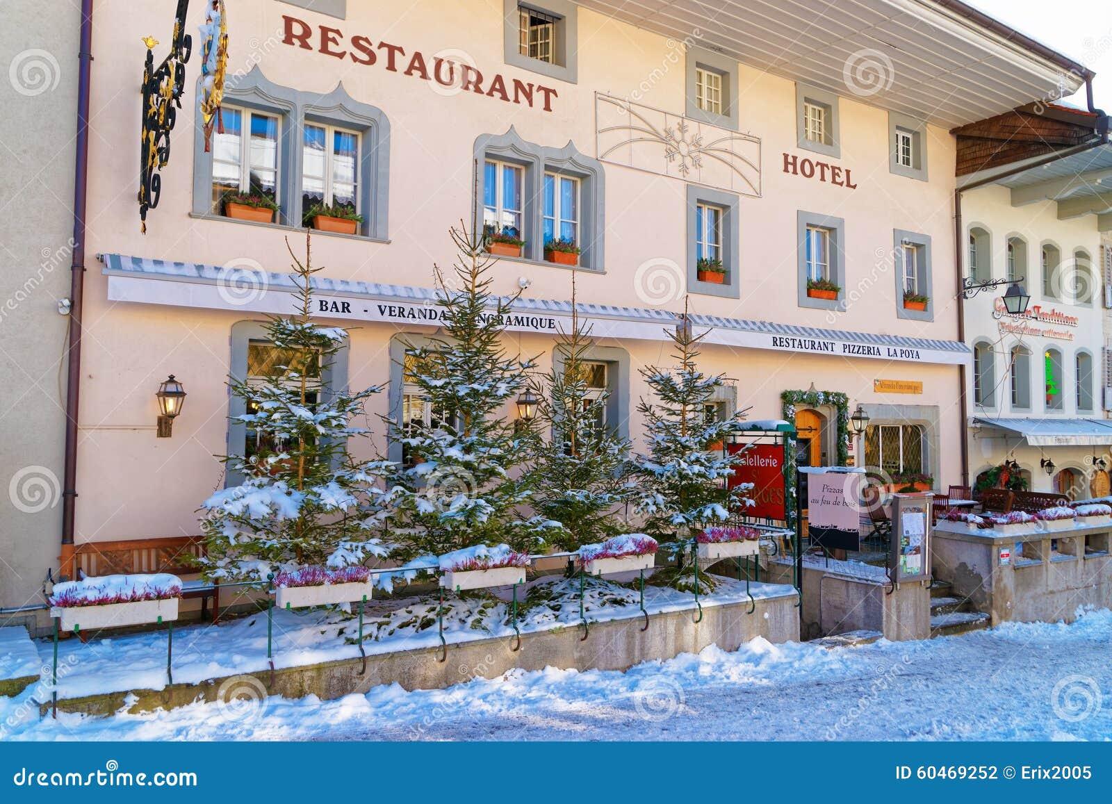 Photos De Verandas En Bois cozy restaurant in the swiss village gruyeres editorial