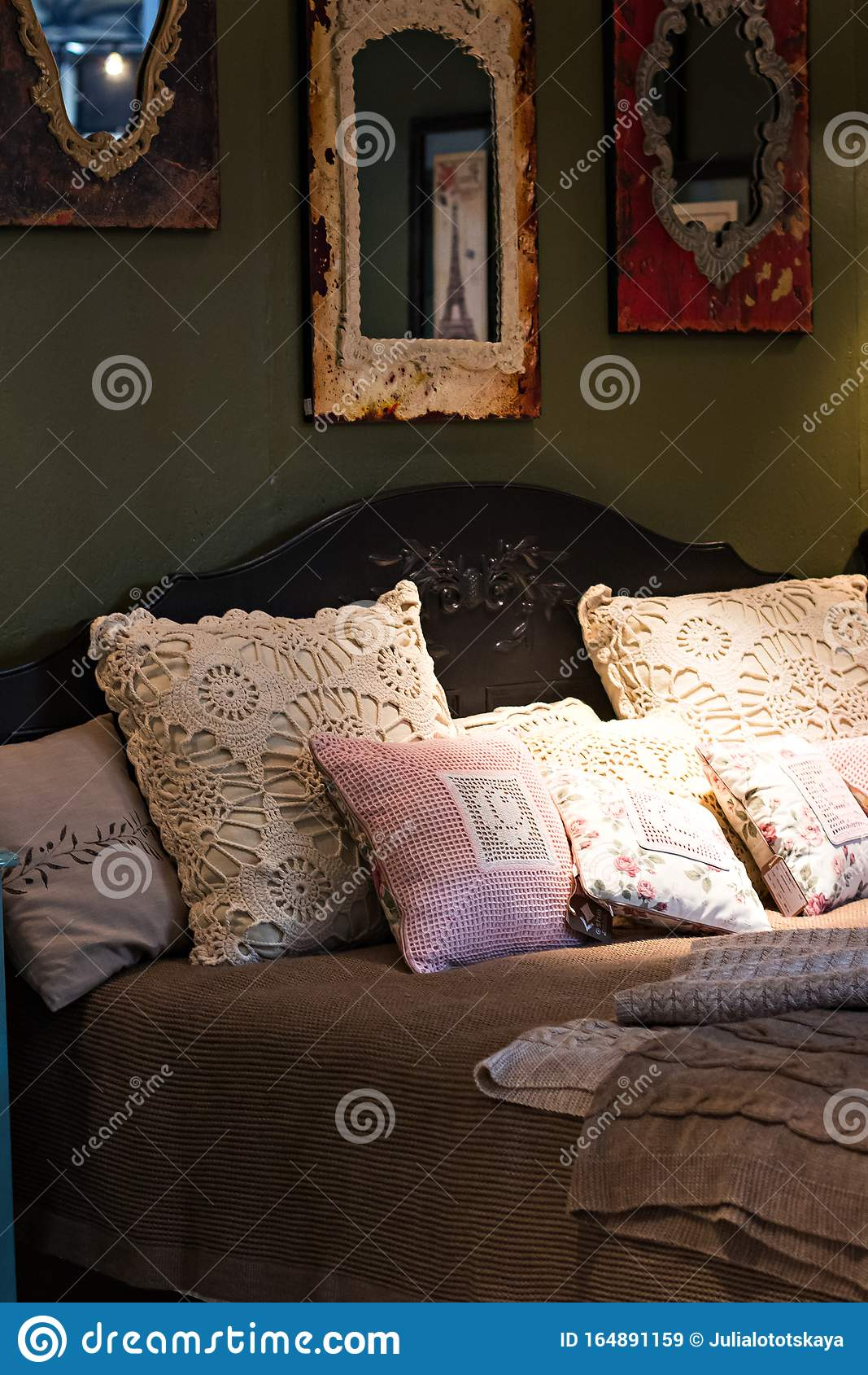 Cozy Bed Lots Pillows Photos Free Royalty Free Stock Photos From Dreamstime