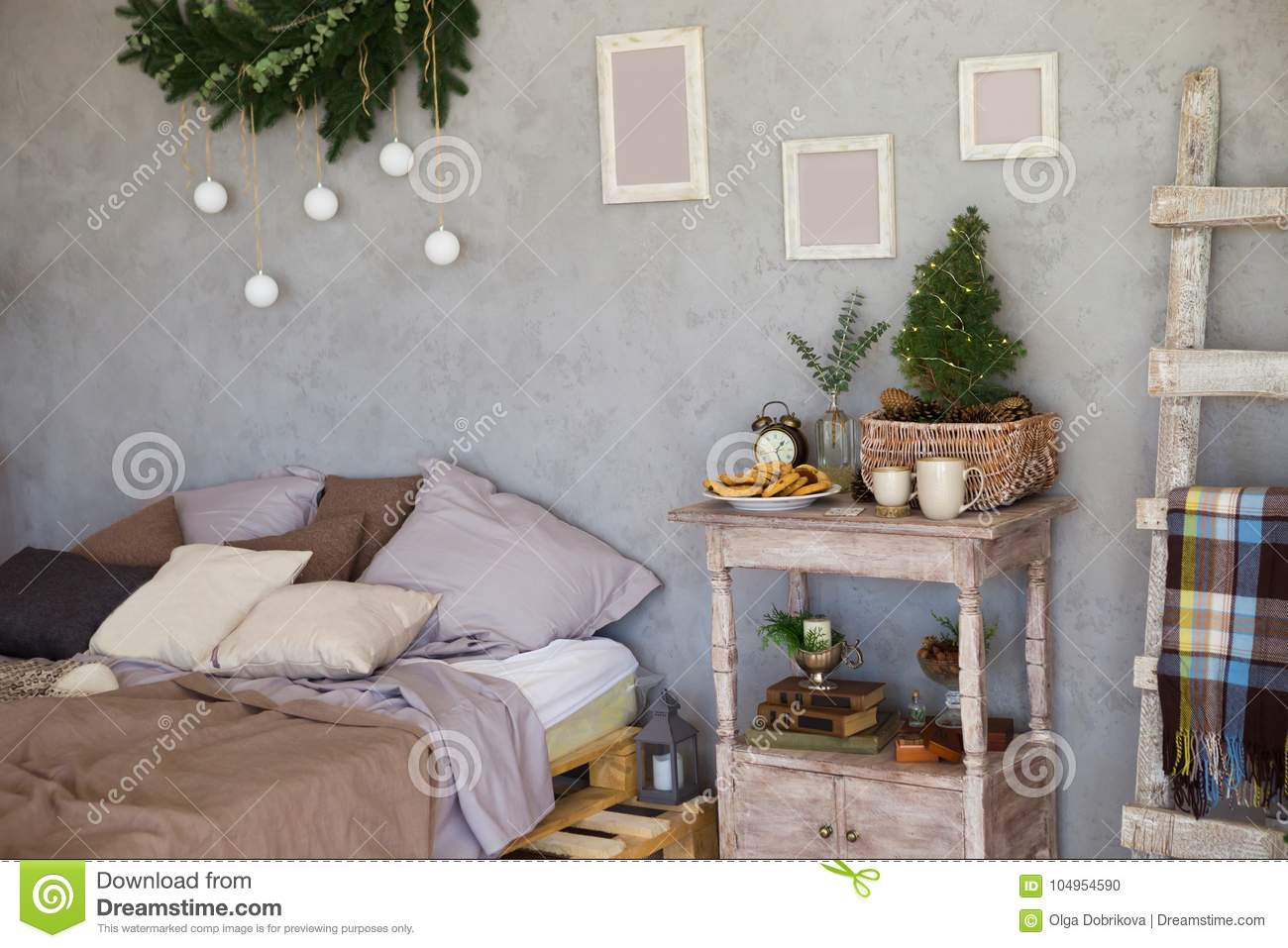6b7cce6da050c Cozy Room, Sofa With Pillows And Nightstand Stock Photo - Image of ...