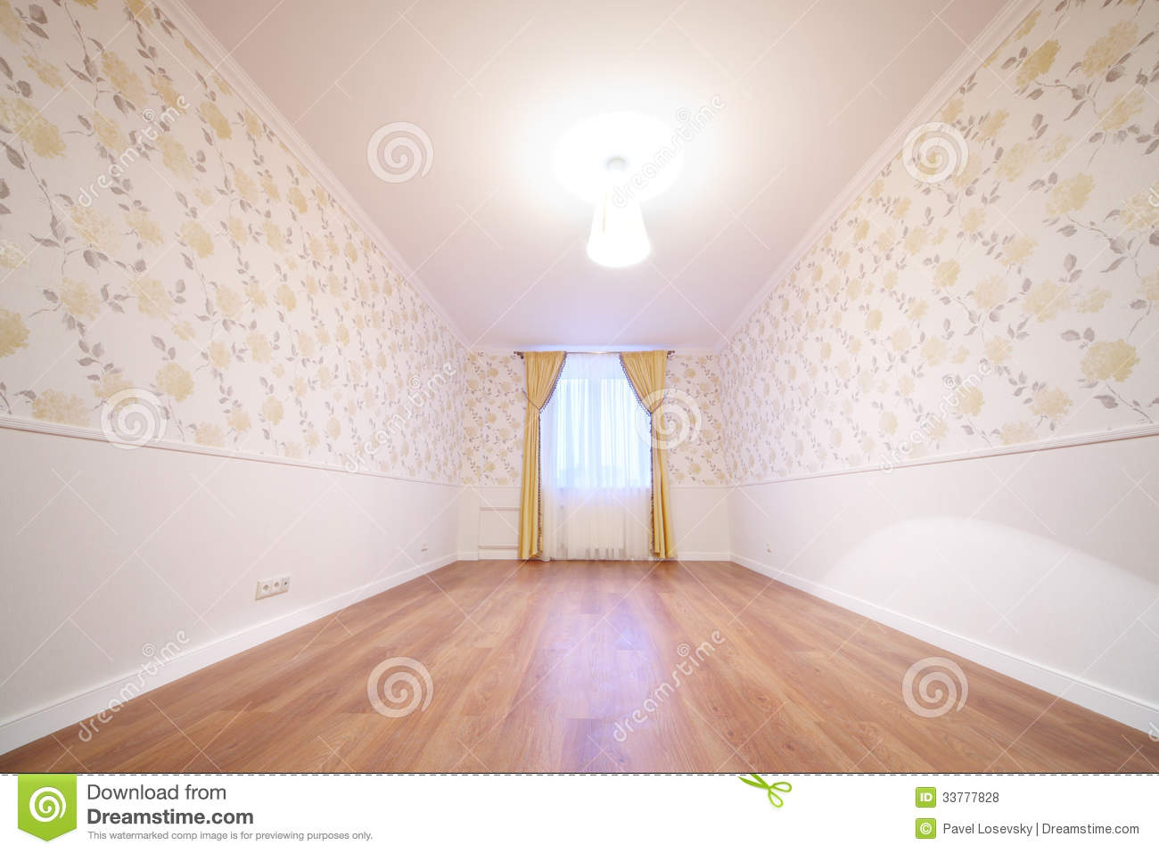 Cozy And Simple Room With Window With Curtains Royalty Free Stock